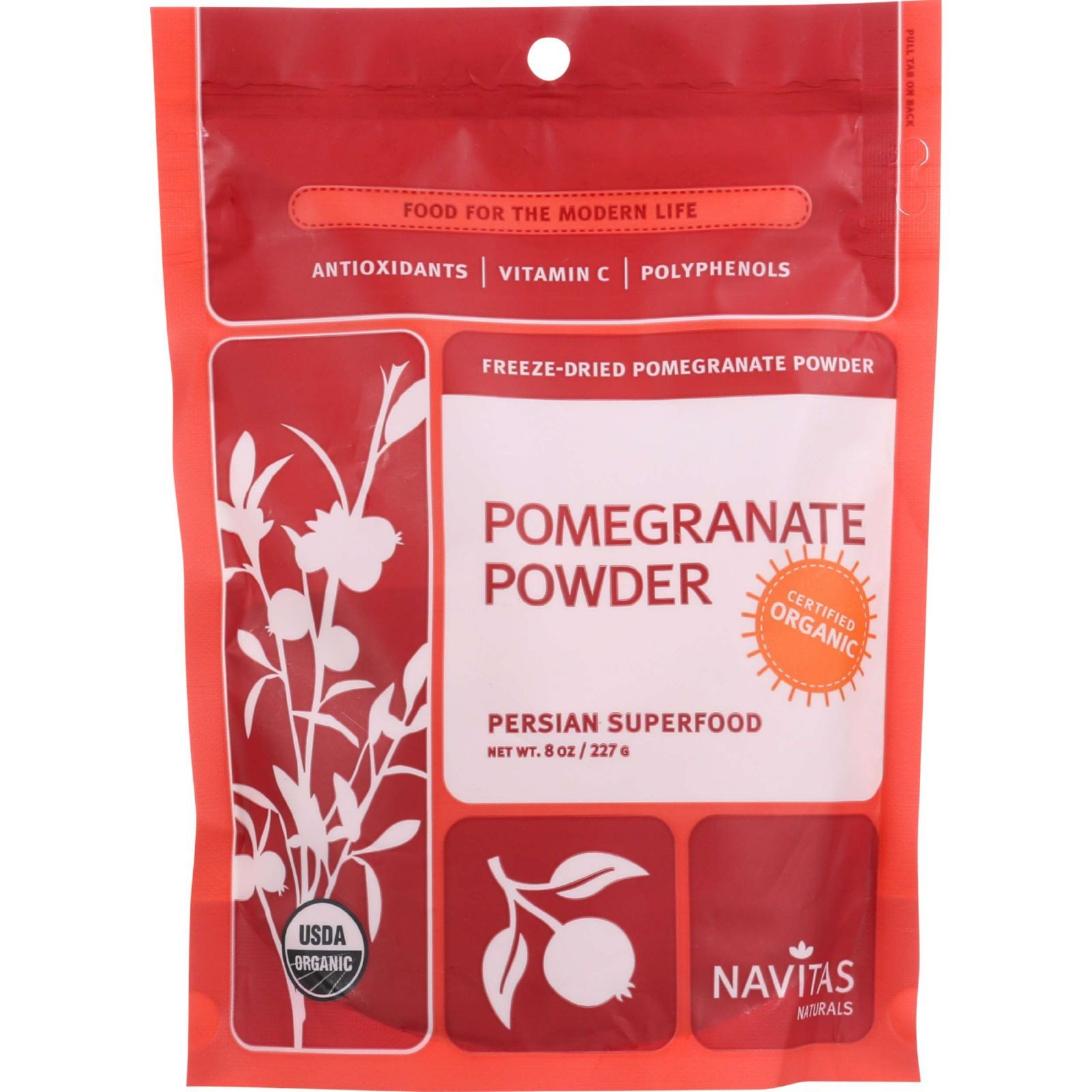 Navitas Naturals Pomegranate Powder - Organic - Freeze-Dried - 8 oz - case of 6