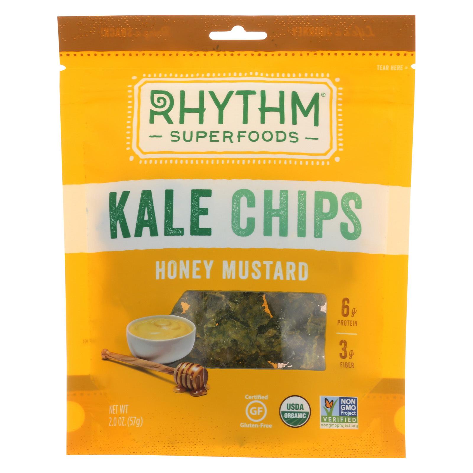 Rhythm Superfoods Kale Chips - Honey Mustard - Case of 12 - 2 oz.