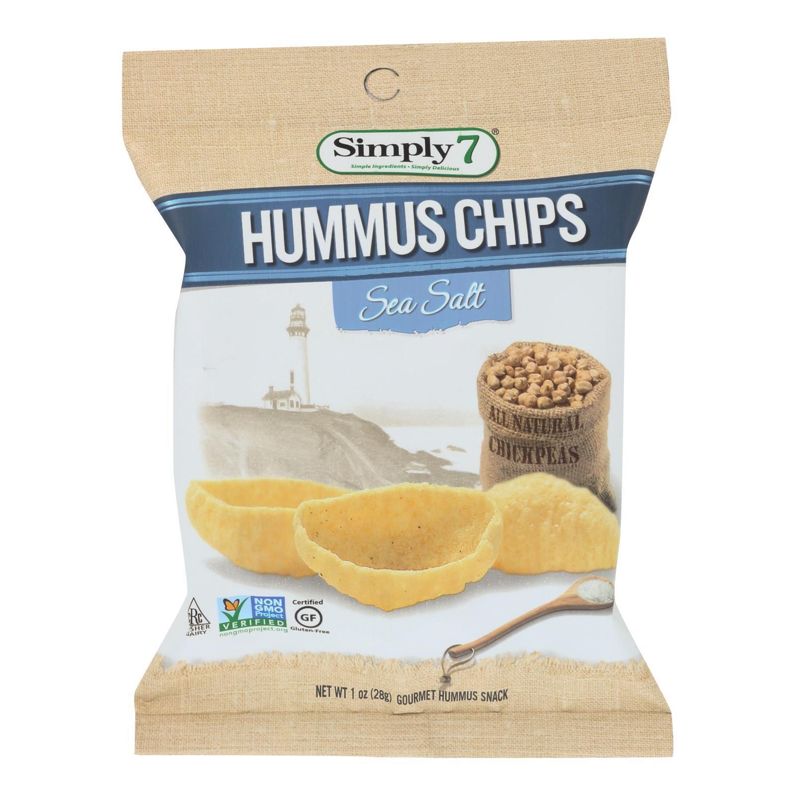 Simply 7 Hummus Chips - Sea Salt - Case of 24 - 1 oz.
