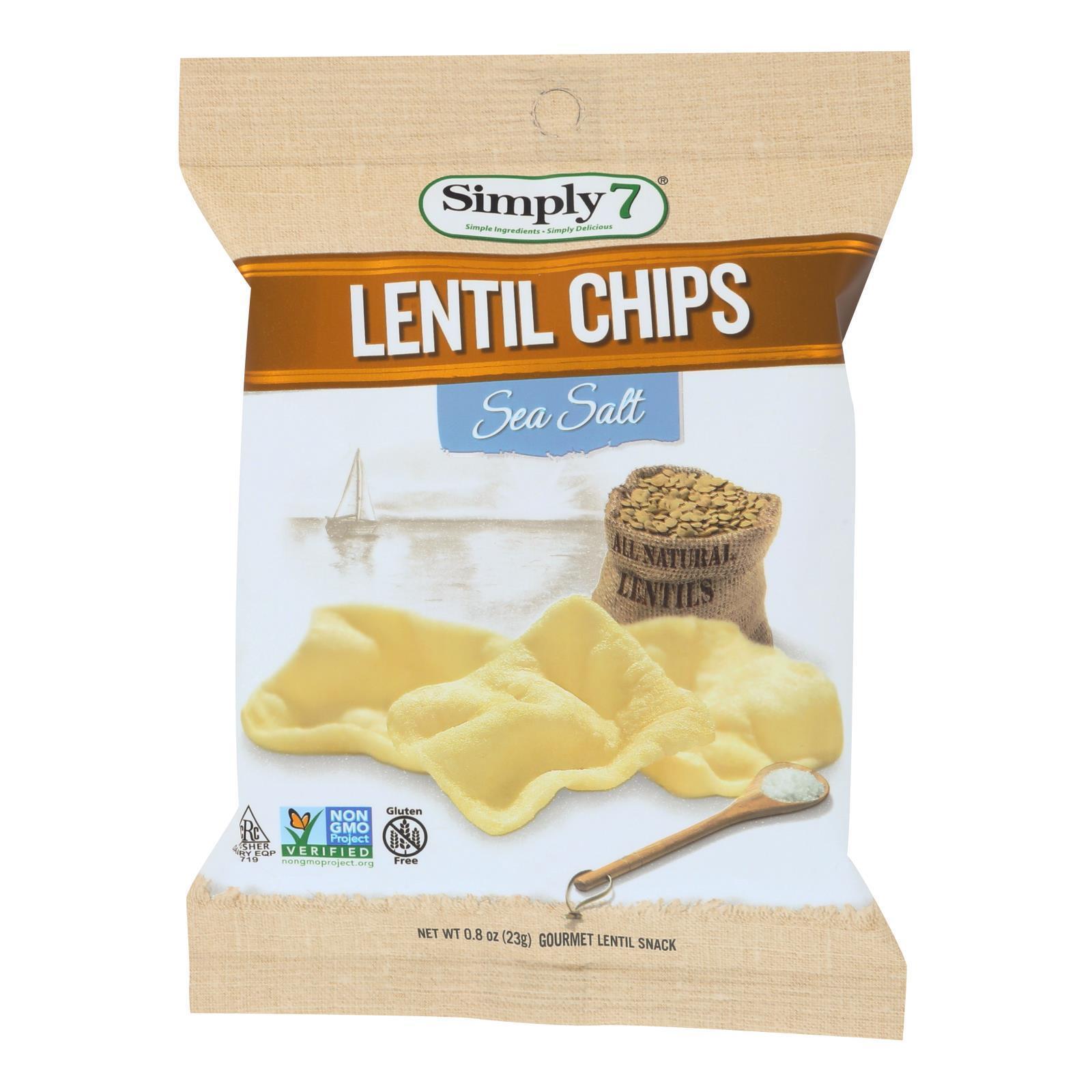 Simply 7 Lentil Chips - Sea Salt - Case of 24 - 0.8 oz.