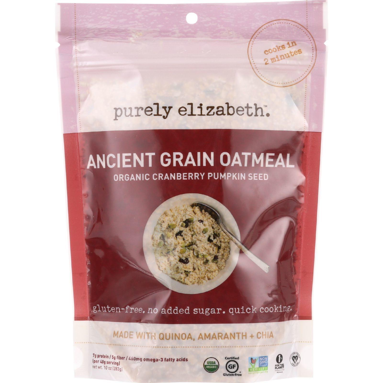 Purely Elizabeth Oatmeal - Organic - Ancient Grain - Cranberry Pumpkin Seed - 10 oz - case of 6