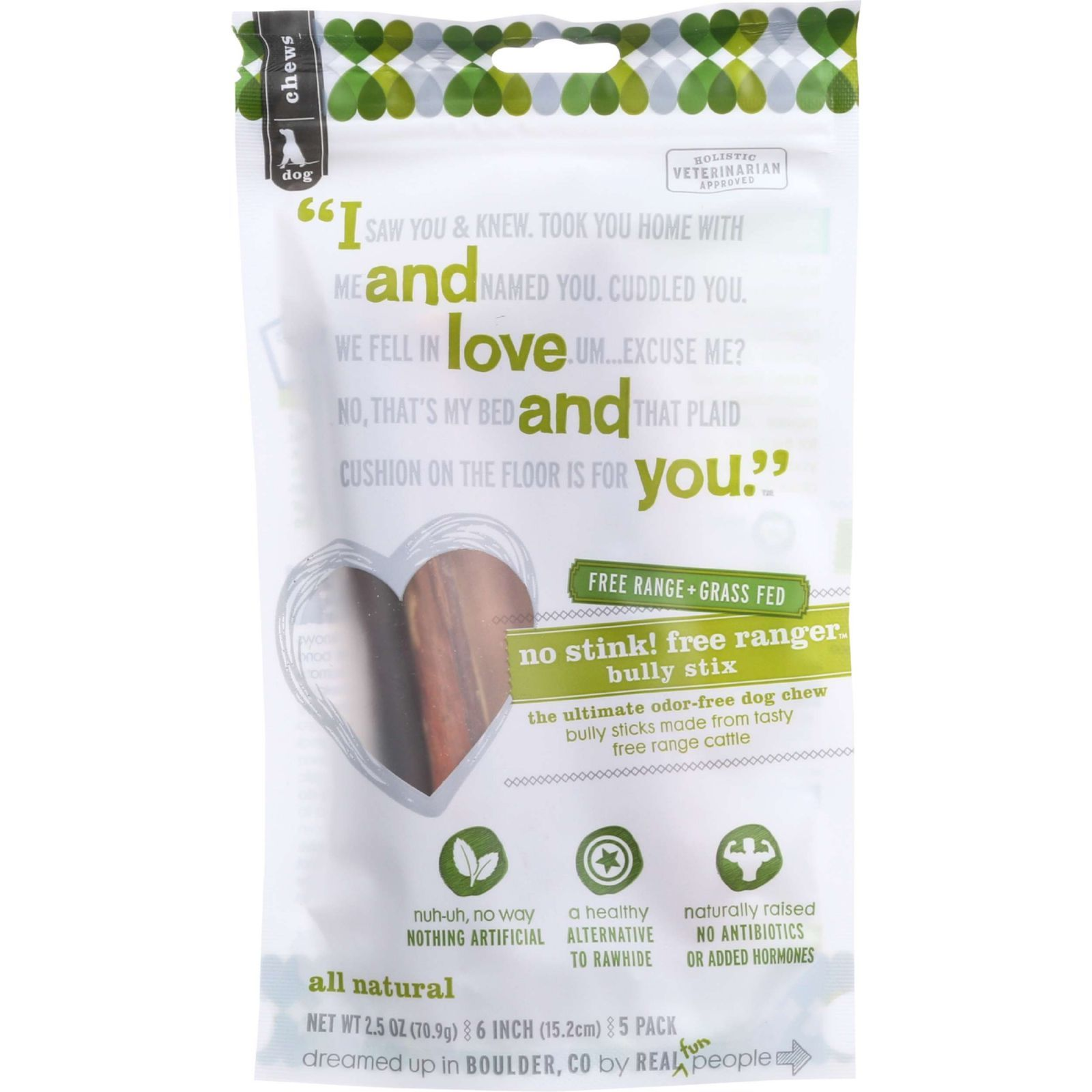 I And Love And You Dog Chews - No Stink Free Ranger Bully Stix - Beef - 5 count - case of 6