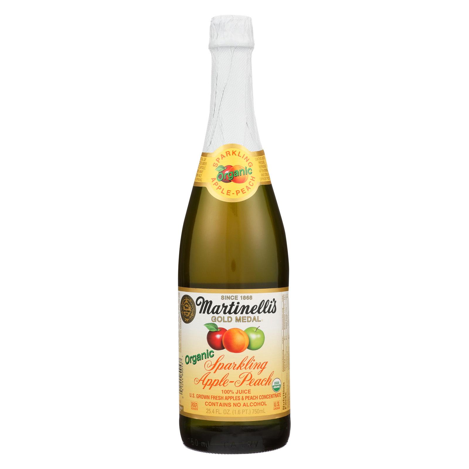 Martinelli's Organic Sparkling - Apple Peach - Case of 12 - 25.4 fl oz