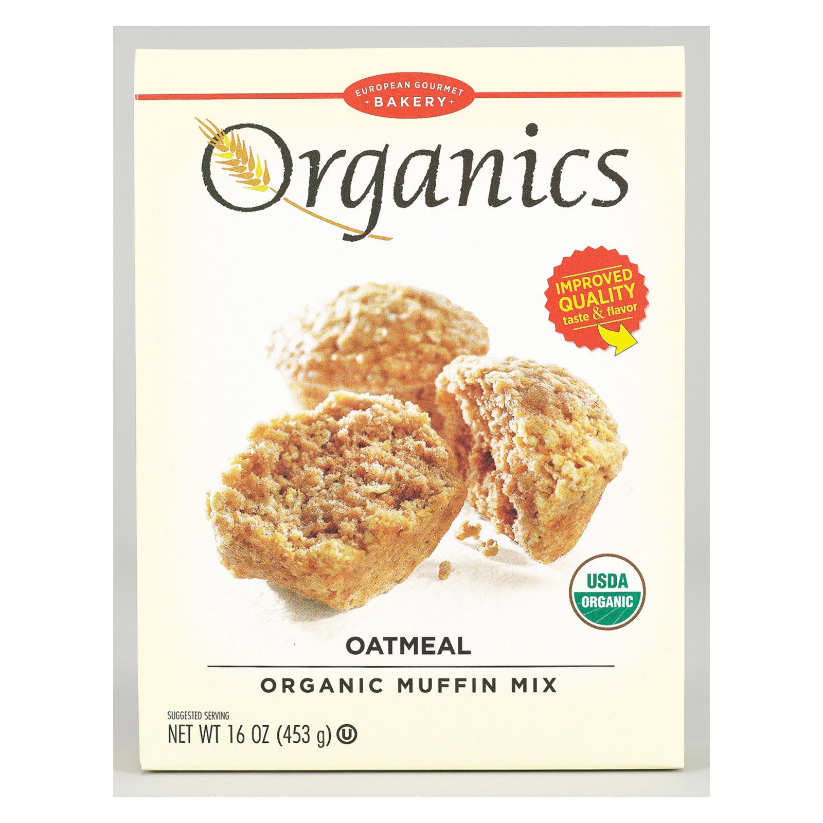 European Gourmet Bakery Organic Oatmeal Muffin Mix - Oatmeal - Case of 12 - 16 oz.
