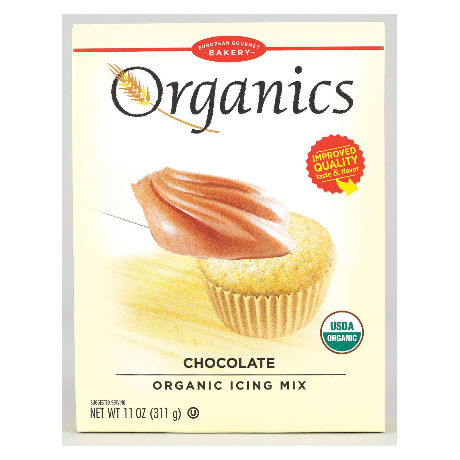 European Gourmet Bakery Organic Chocolate Icing Mix - Chocolate Icing - Case of 12 - 11 oz.