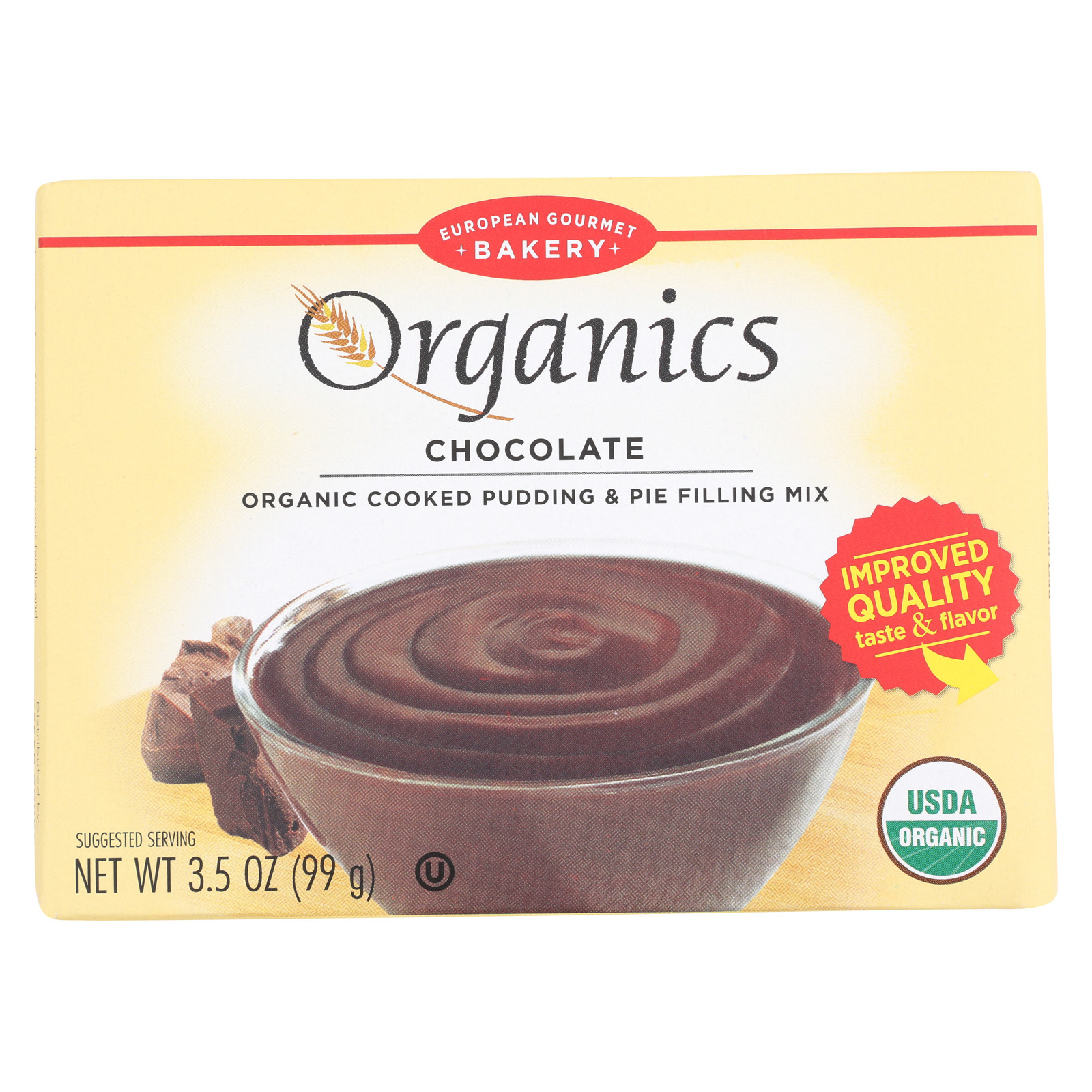 European Gourmet Bakery Organic Chocolate Pudding Mix - Pudding Mix - Case of 12 - 3.5 oz.