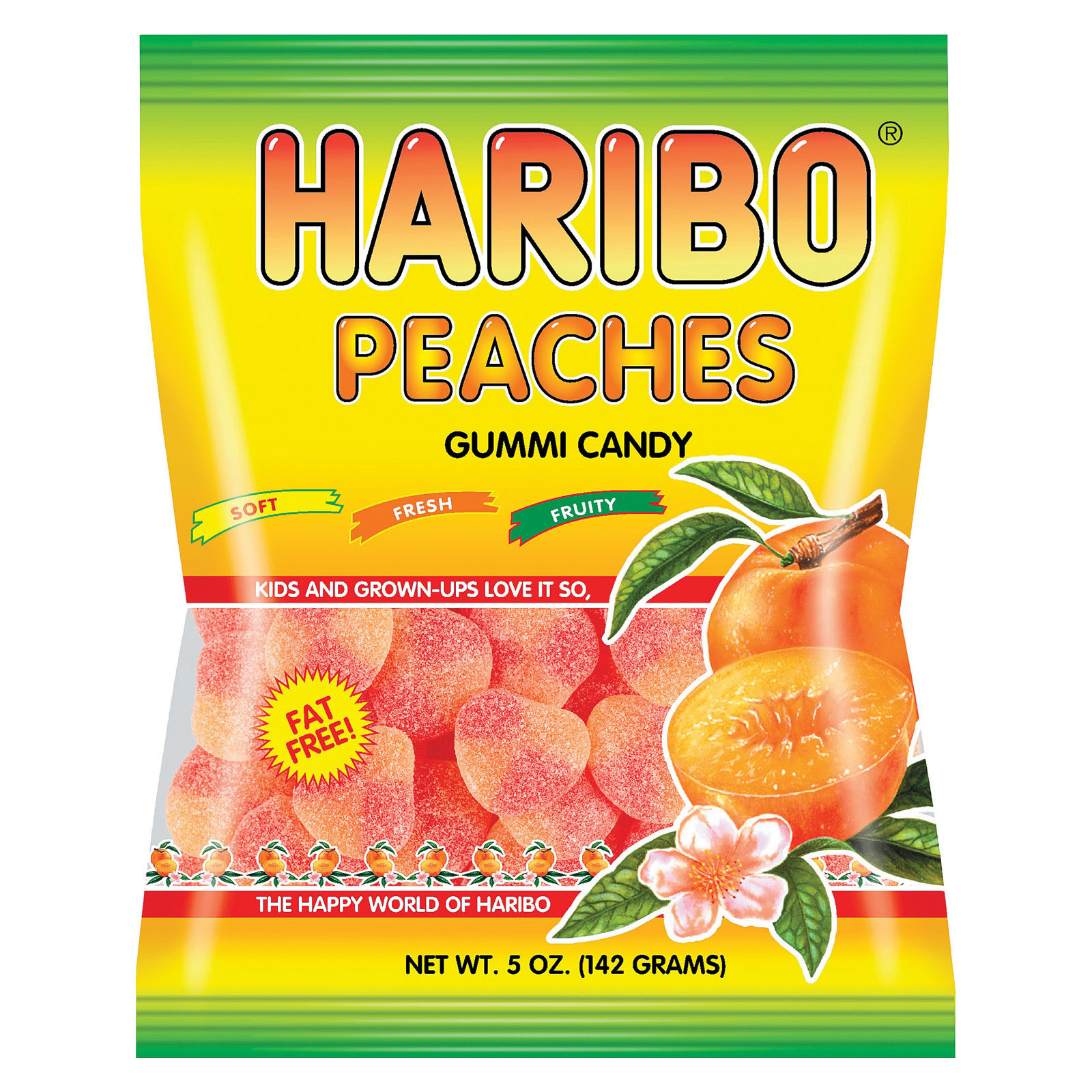Haribo Peaches - Natural - Case of 12 - 5 oz.