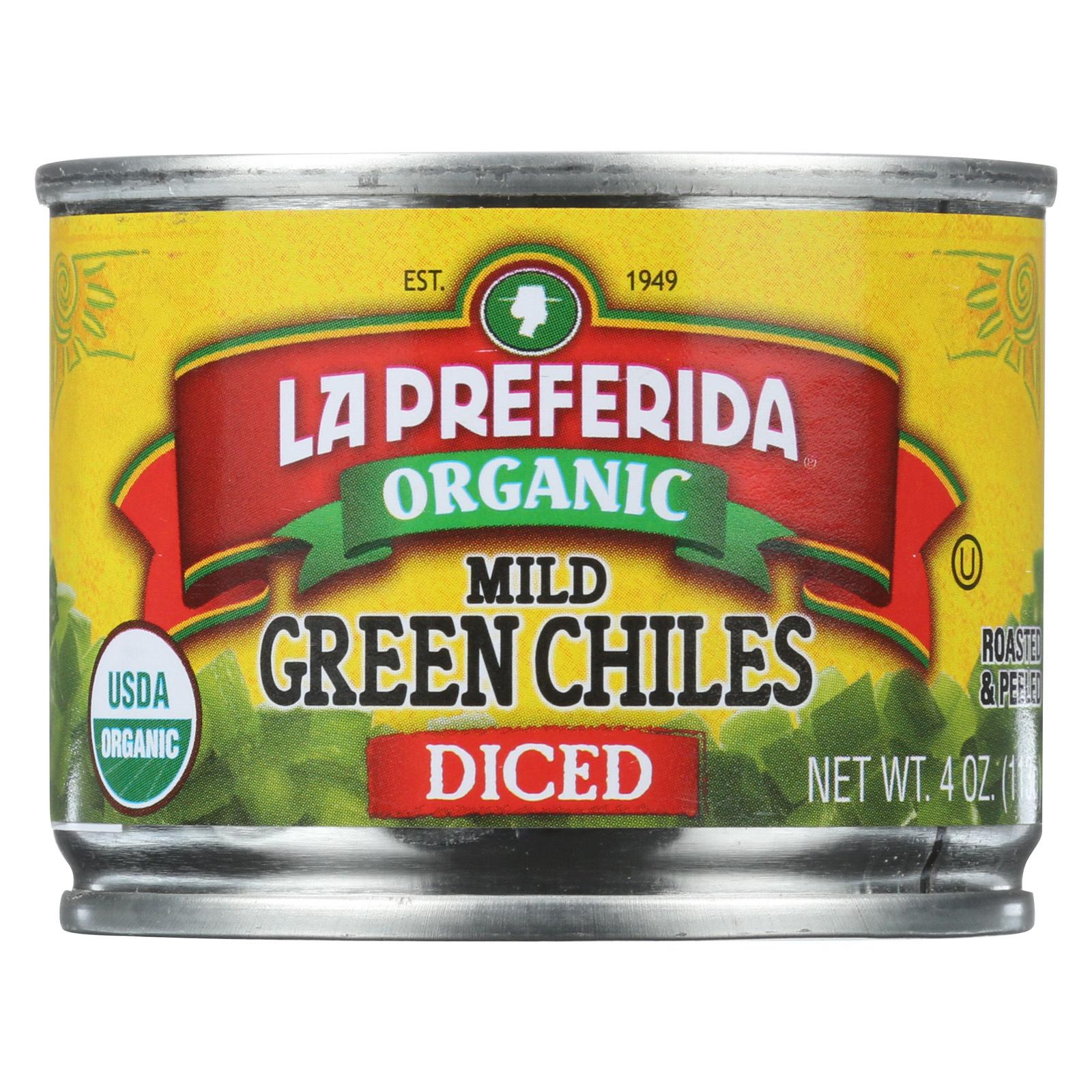 La Preferida Diced Tomatoes - Green Chilies - Case of 12 - 4 Fl oz.
