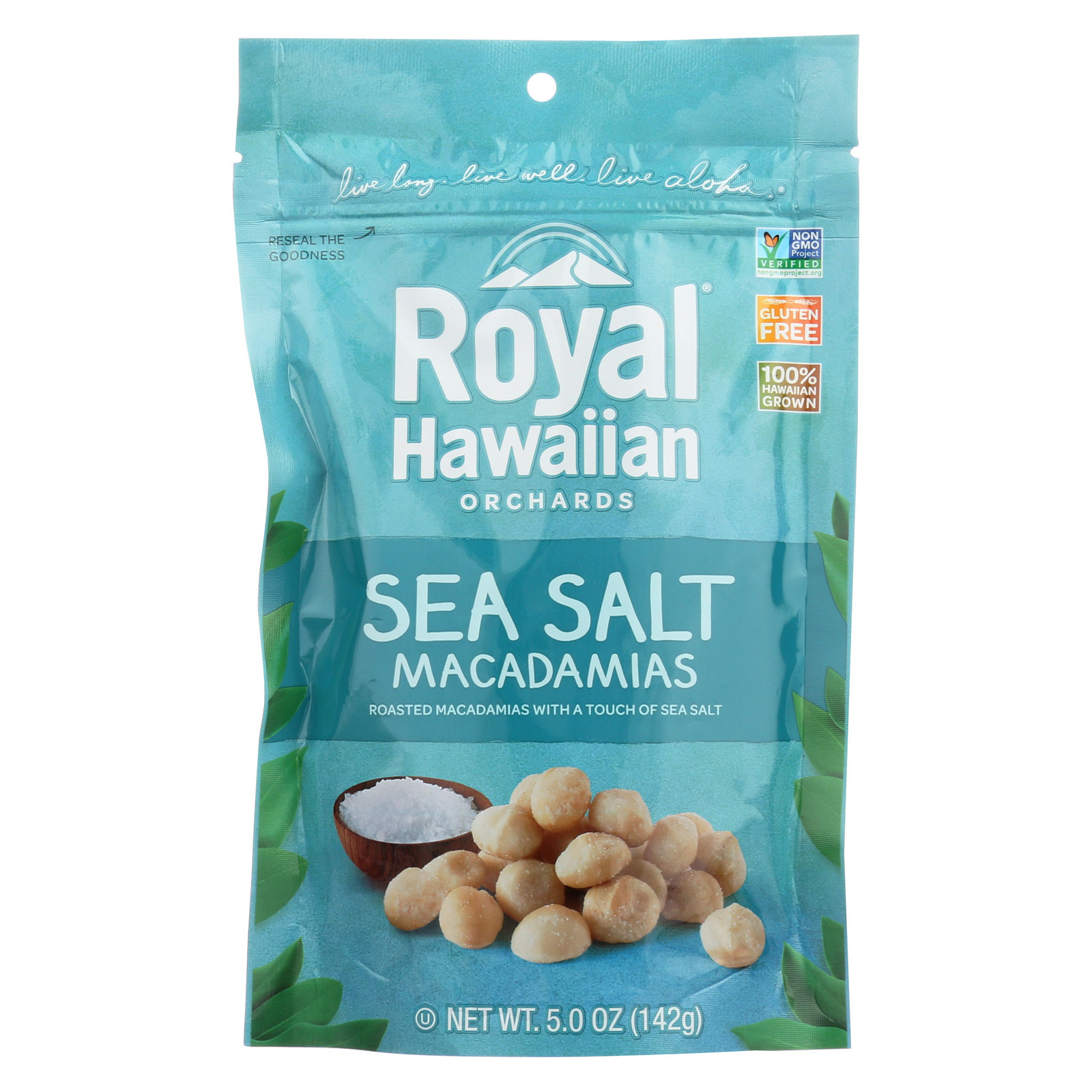 Royal Hawaiian Orchards Macadamias - Sea Salt - Case of 6 - 5 oz.
