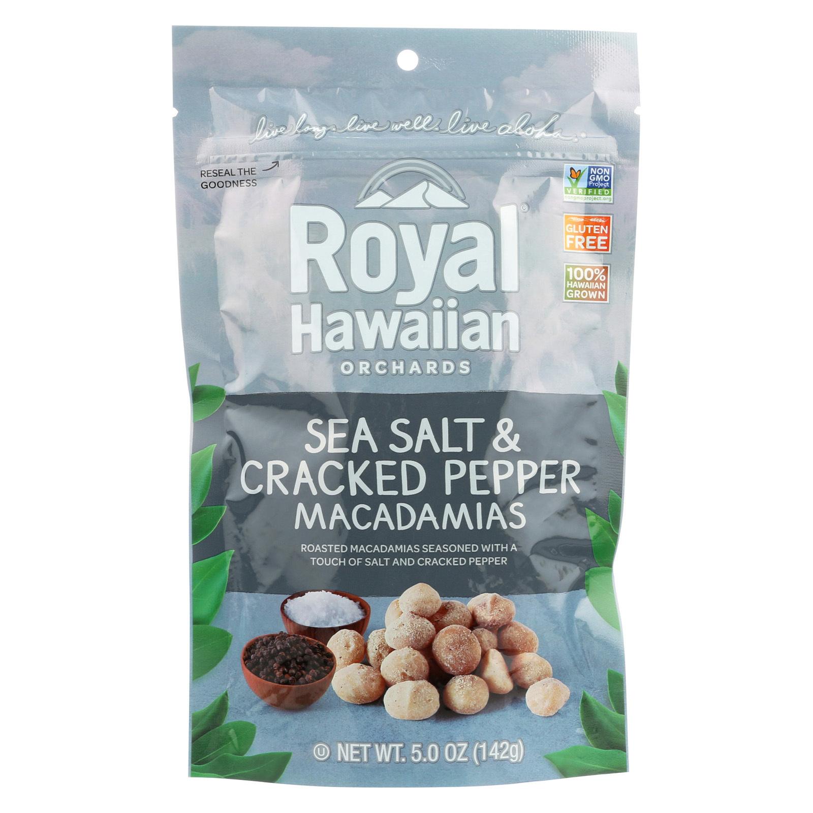 Royal Hawaiian Orchards Macadamias - Sea Salt and Cracked Pepper - Case of 6 - 5 oz.