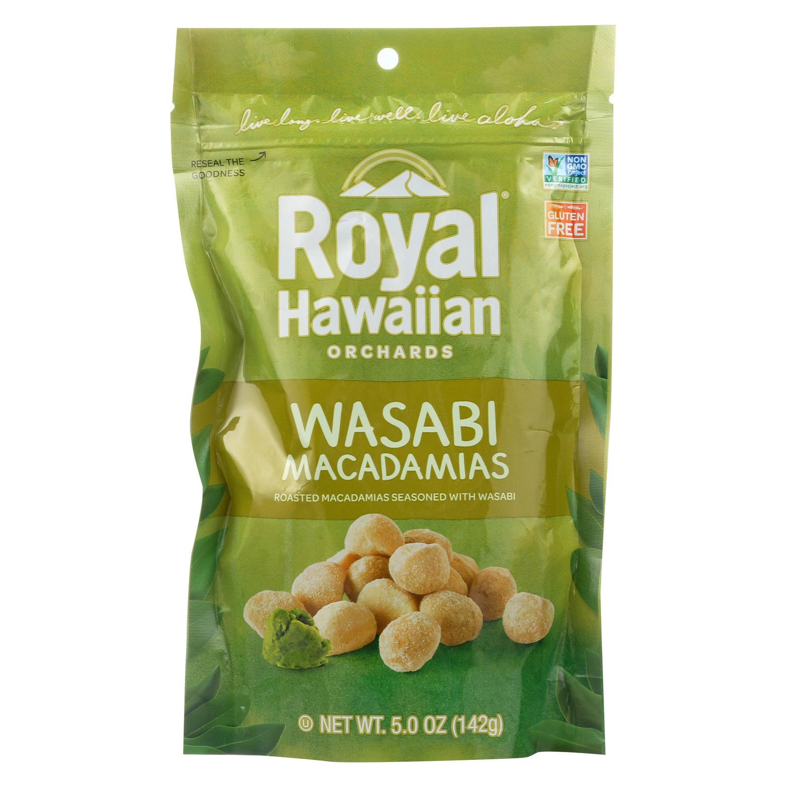 Royal Hawaiian Orchards Macadamias - Wasabi and Soy - Case of 6 - 5 oz.