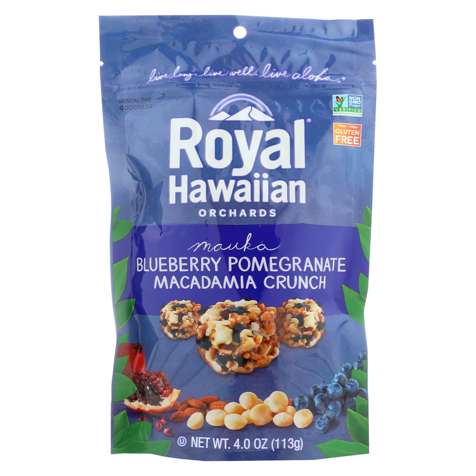 Royal Hawaiian Orchards Blueberry Pomegranate - Macadamia Crunch - Case of 6 - 4 oz.