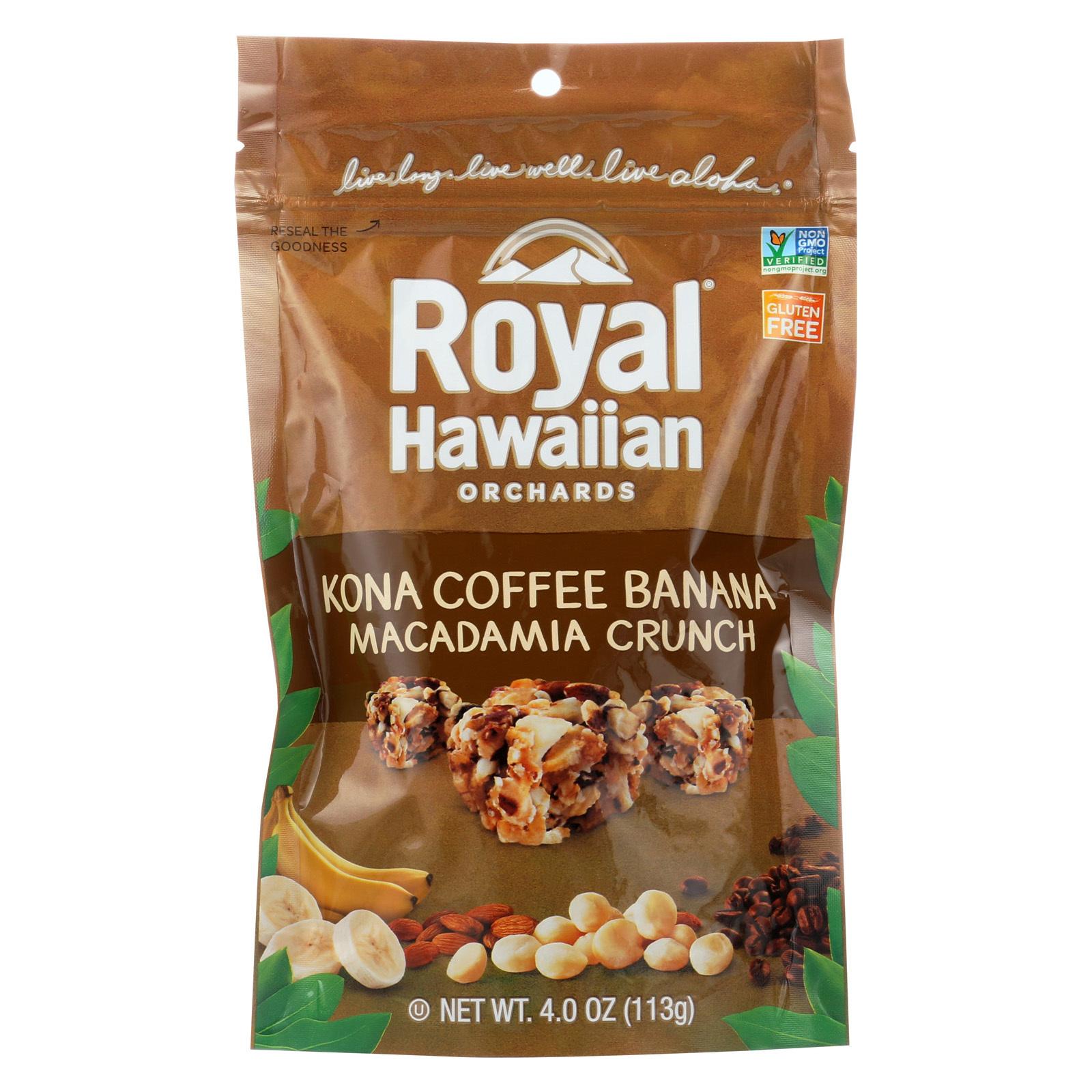 Royal Hawaiian Orchards Macadamia Crunch - Kona Coffee Banana - Case of 6 - 4 oz.