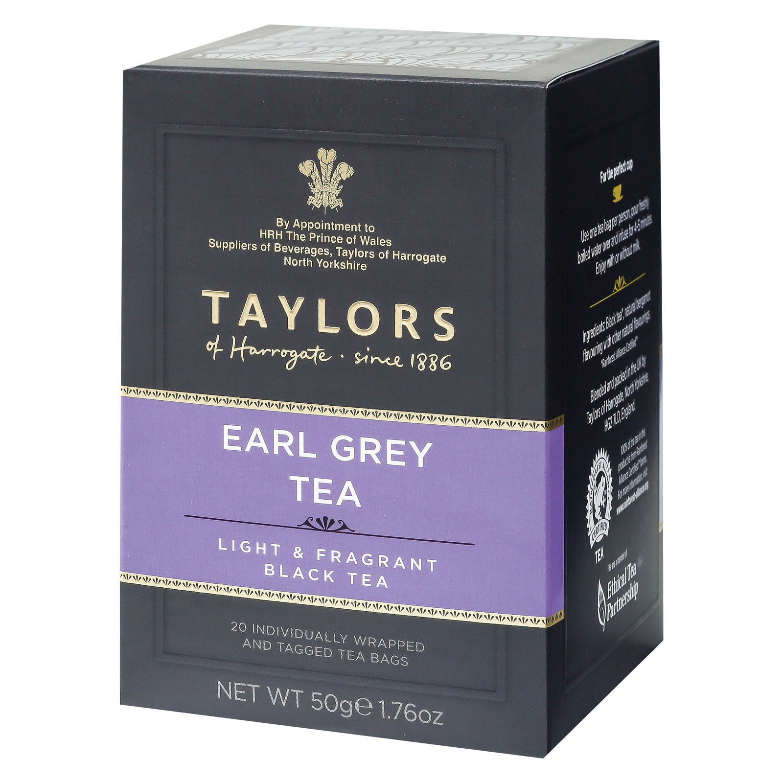 Taylors of Harrogate Black Tea - Earl Grey - Case of 6 - 20 Bags