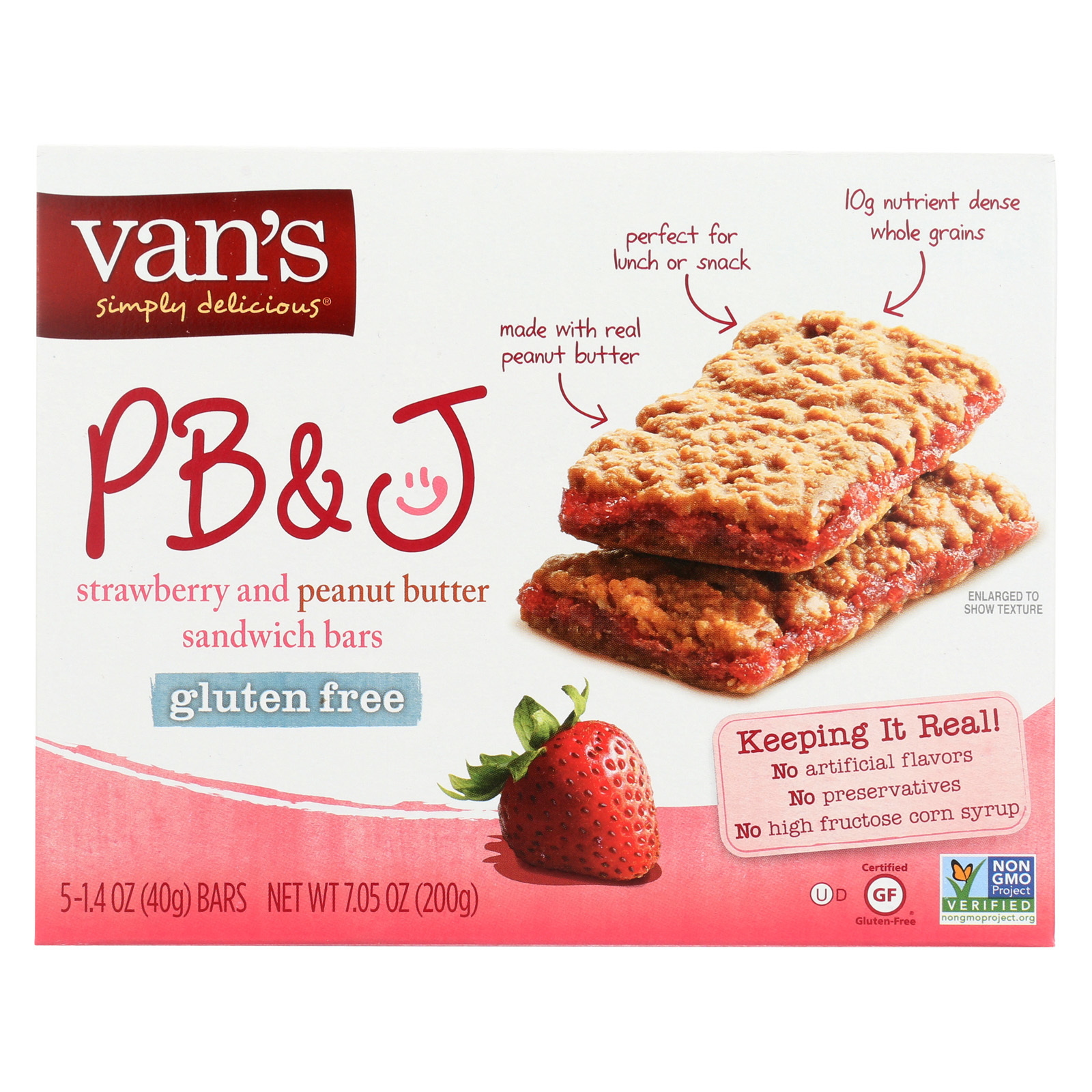 Van's Natural Foods Gluten Free Sandwich Bars - Strawberry and Peanuts Butter - Case of 6 - 1.4 oz.