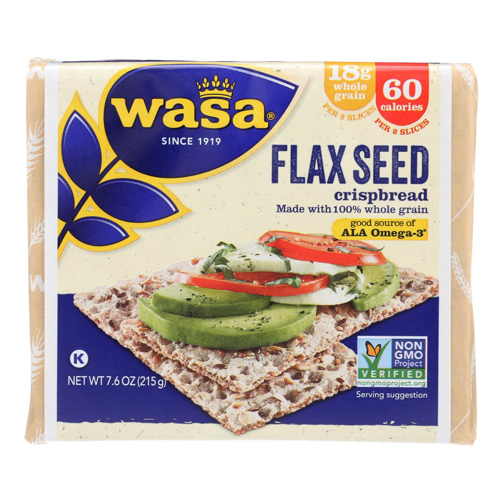 Wasa Crispbread Flax Seed - Case of 12 - 7.6 oz.
