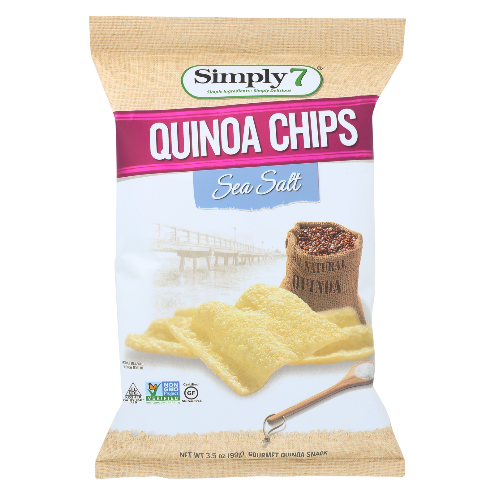 Simply 7 Quinoa Chips - Sea Salt - Case of 12 - 3.5 oz.