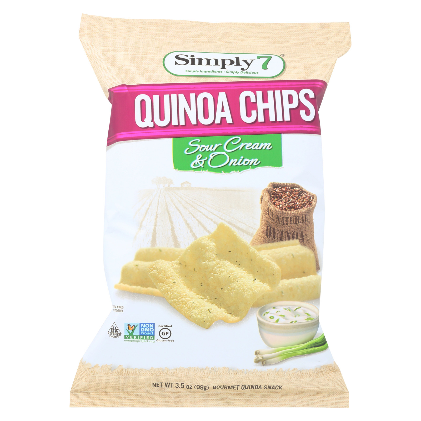 Simply 7 Quinoa Chips - Sour Cream and Onion - Case of 12 - 3.5 oz.