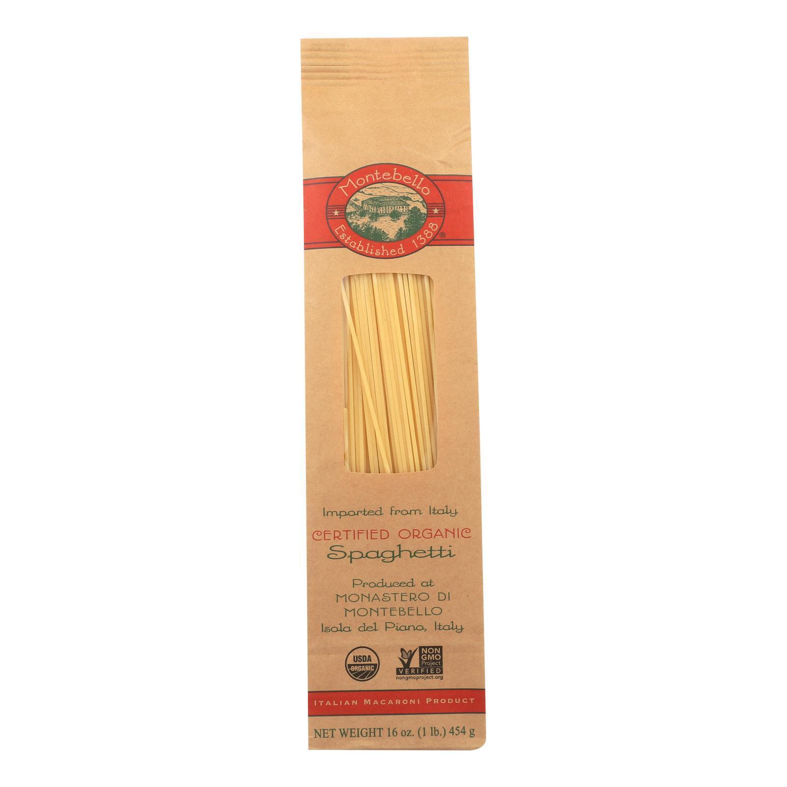 Montebello Organic Pasta - Spaghetti - Case of 12 - 1 lb.