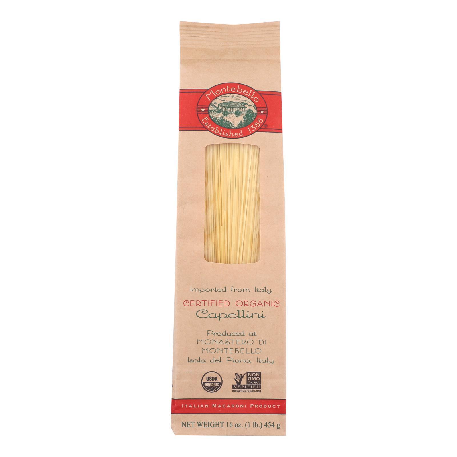Montebello Organic Pasta - Capellini - Case of 12 - 1 lb.