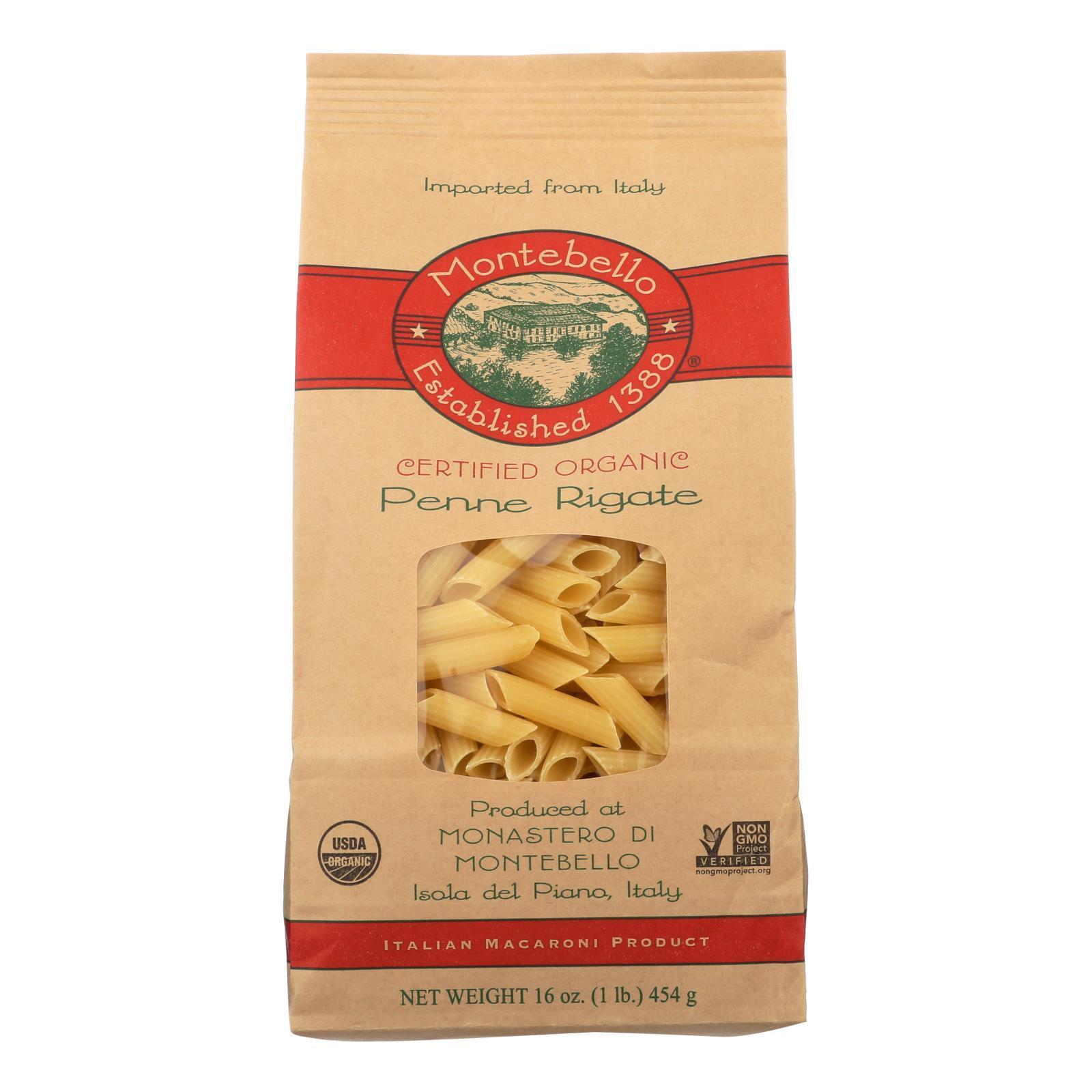 Montebello Organic Pasta - Penne Rigate - Case of 12 - 1 lb.
