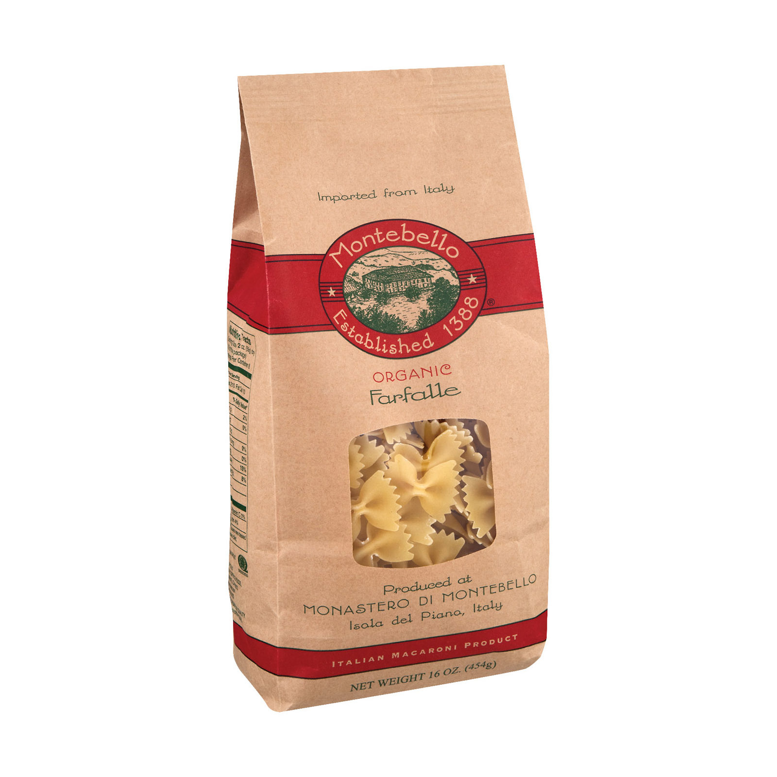 Montebello Organic Pasta - Farfalle - Case of 12 - 1 lb.