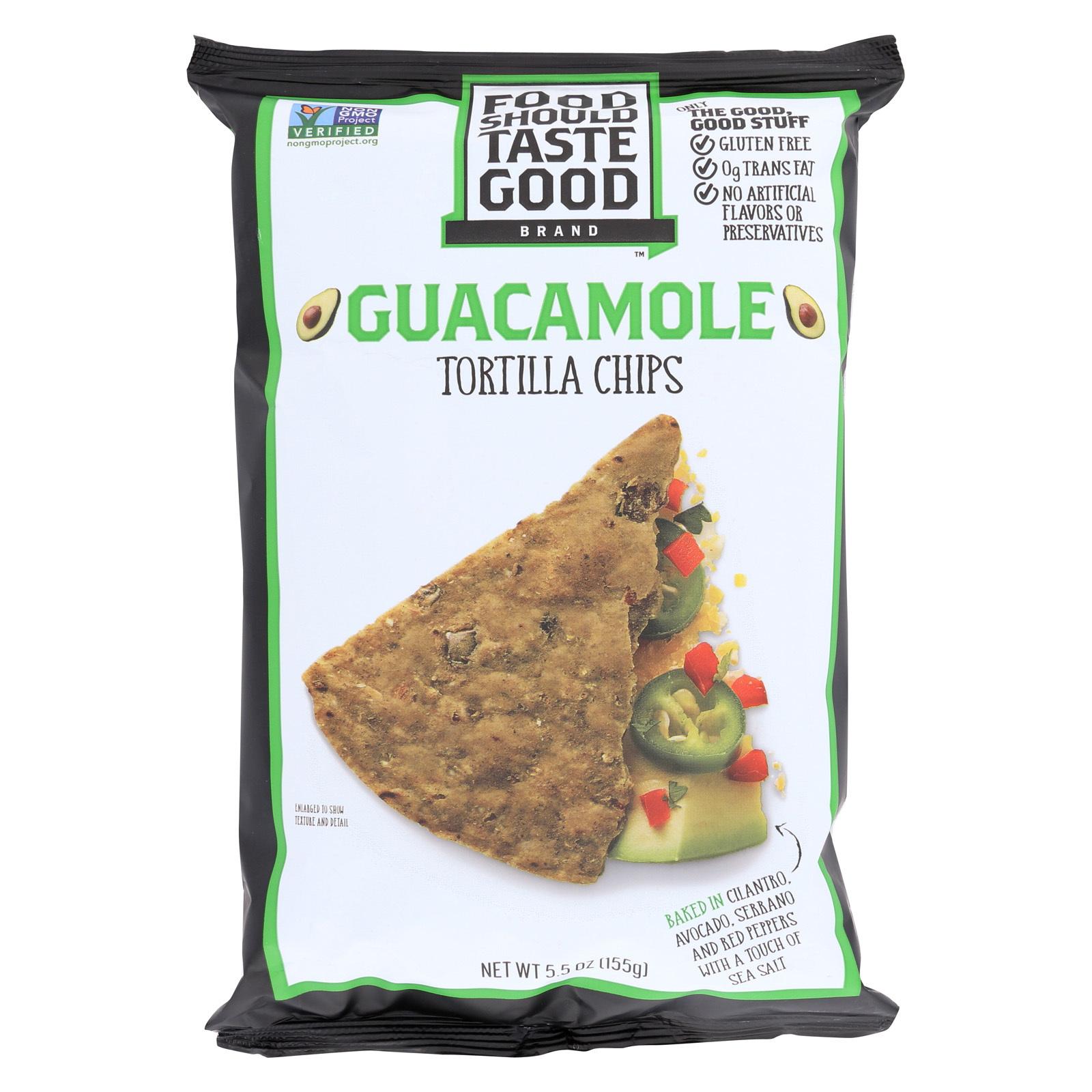Food Should Taste Good Guacamole Tortilla Chips - Guacamole - Case of 12 - 5.5 oz.