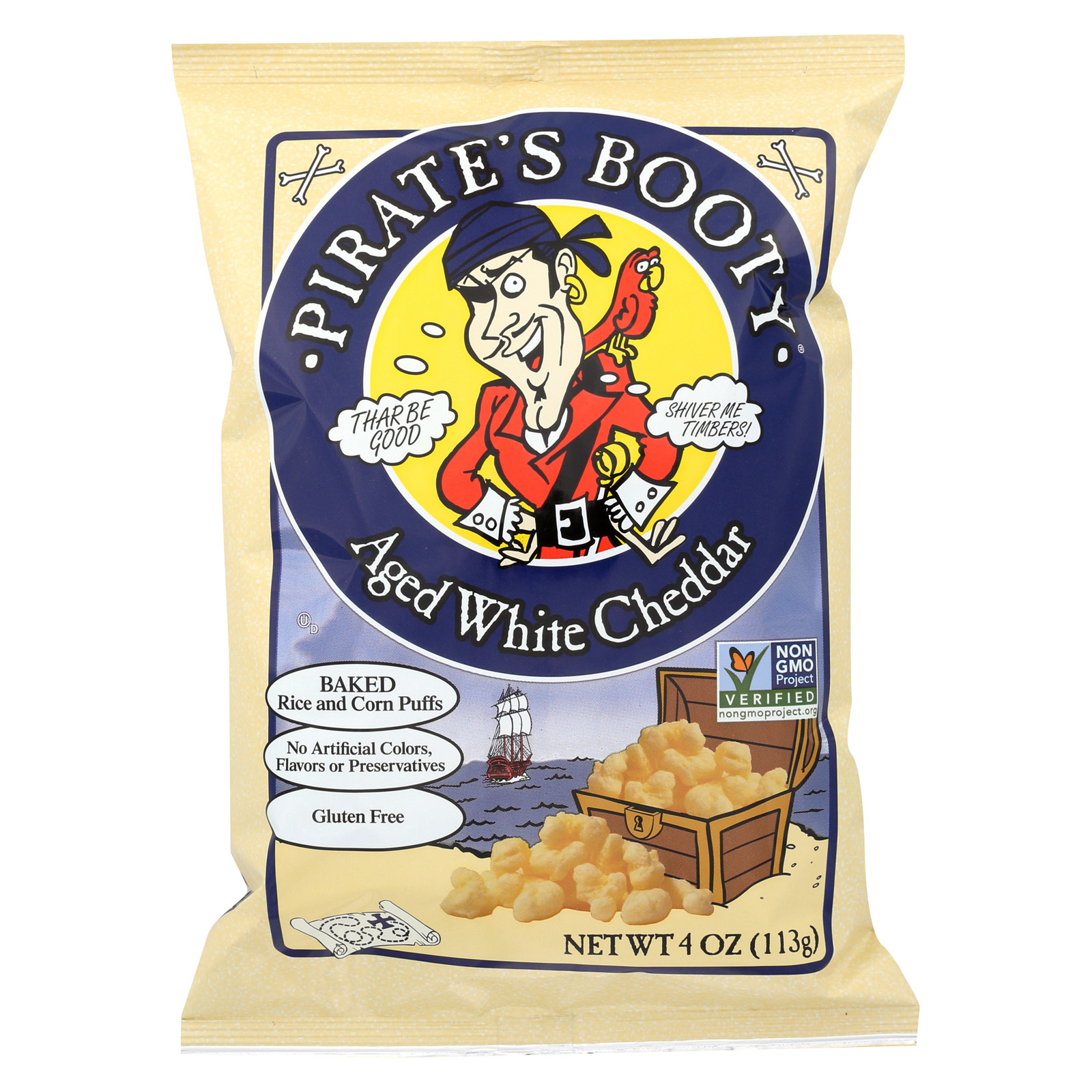 Pirate Brands Booty Puffs - Aged White Cheddar - Case of 12 - 4 oz.