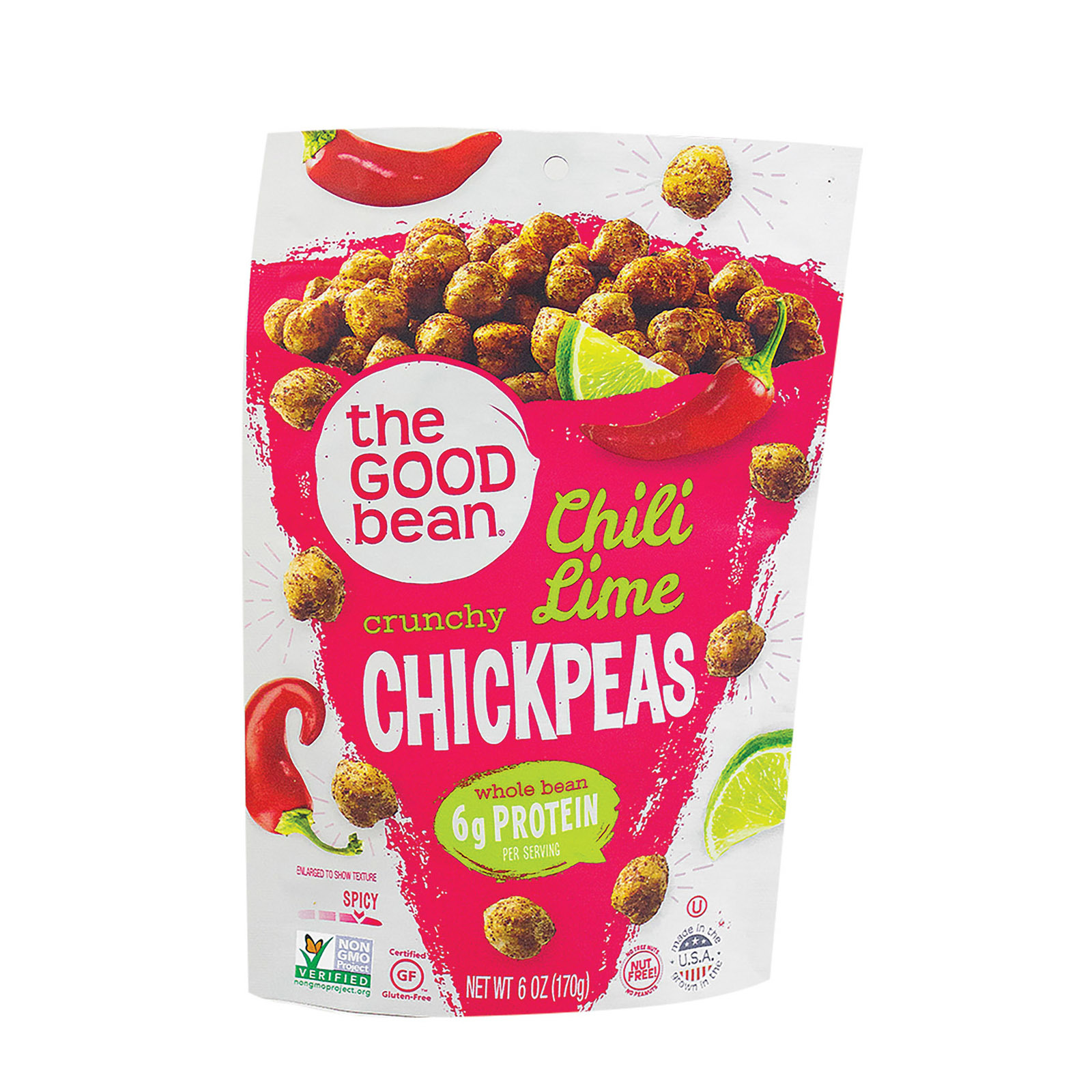 The Good Bean Crispy Crunchy Chickpea Snacks - Smoky Chili and Lime - Case of 6 - 6 oz.