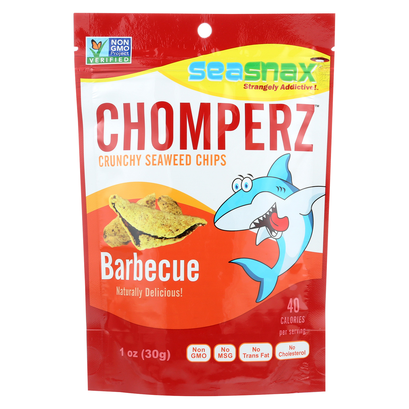 Seasnax Chomperz Crunchy Seaweed Chips - Barbecue - Case of 8 - 1 oz.