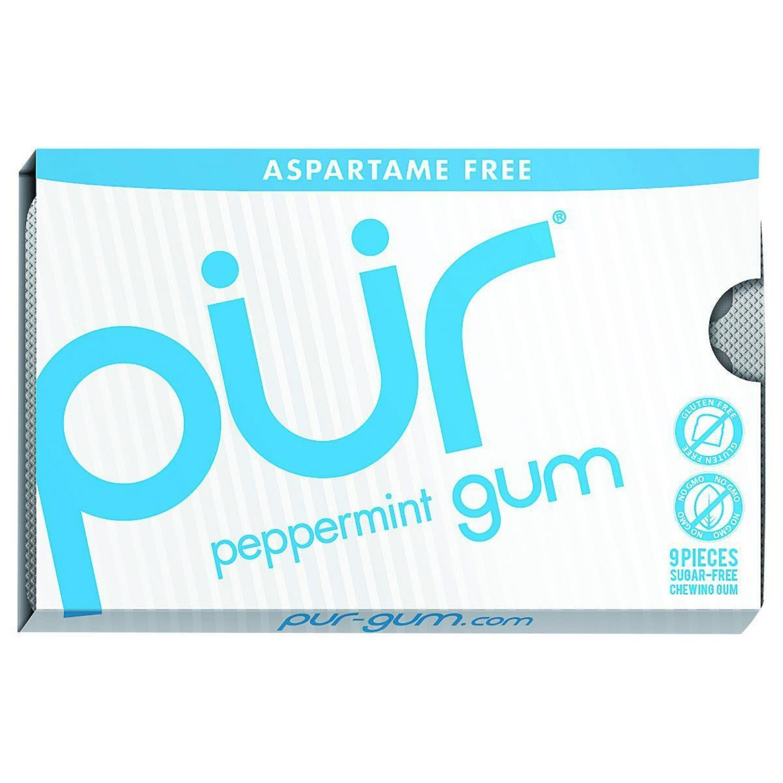 Pur Gum - Peppermint - Aspartame Free - 9 Pieces - 12.6 g - Case of 12