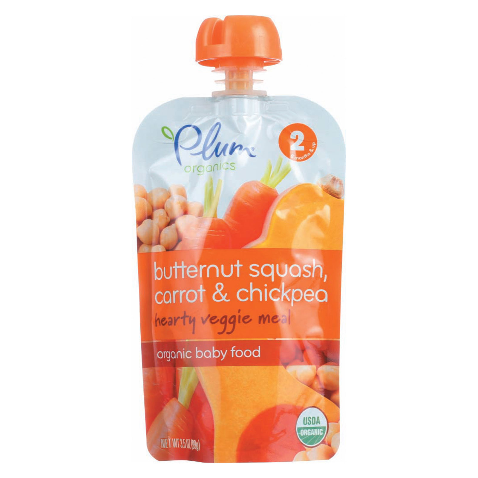 Plum Organics Second Blends Hearty Veggie Meal - Butternut Squash, Carrot and Chickpea - Case of 6 - 3.5 oz.