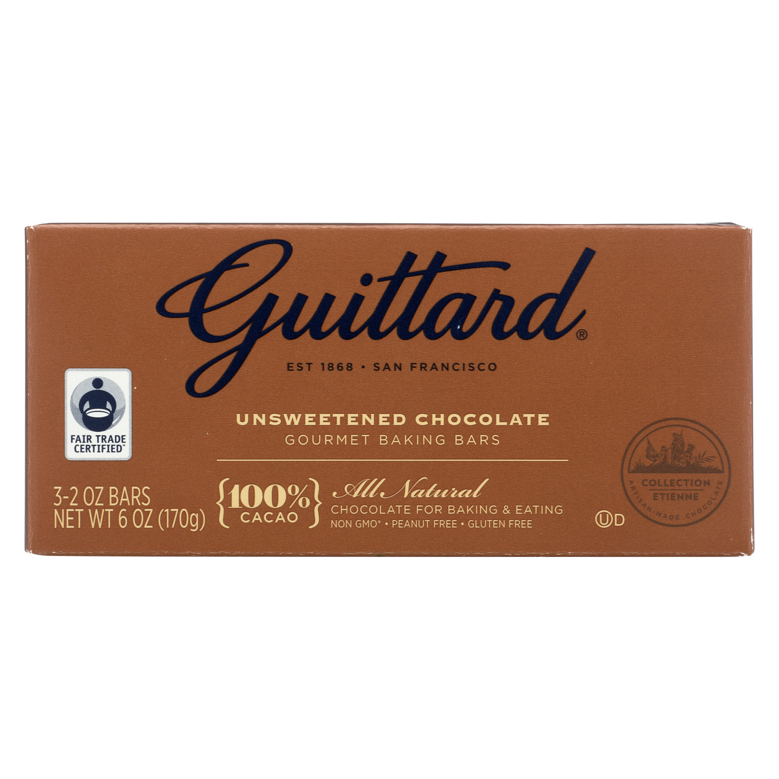 Guittard Chocolate Baking - Unsweetened - Case of 12 - 2 oz.