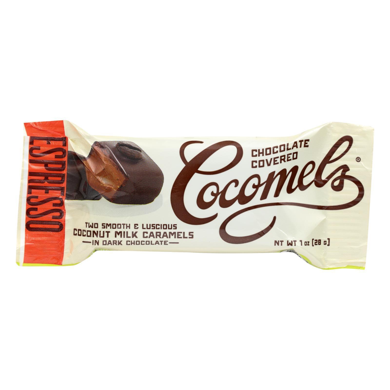 Cocomel Dark Chocolate Covered Cocomels - Espresso - Case of 15 - 1 oz.