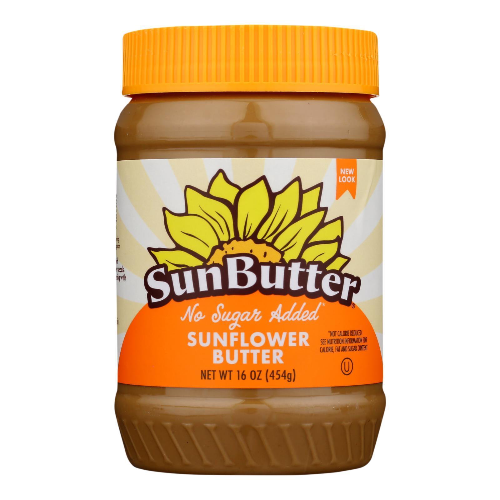 Sunbutter Sunflower Butter - No Sugar Added - Case of 6 - 16 oz.