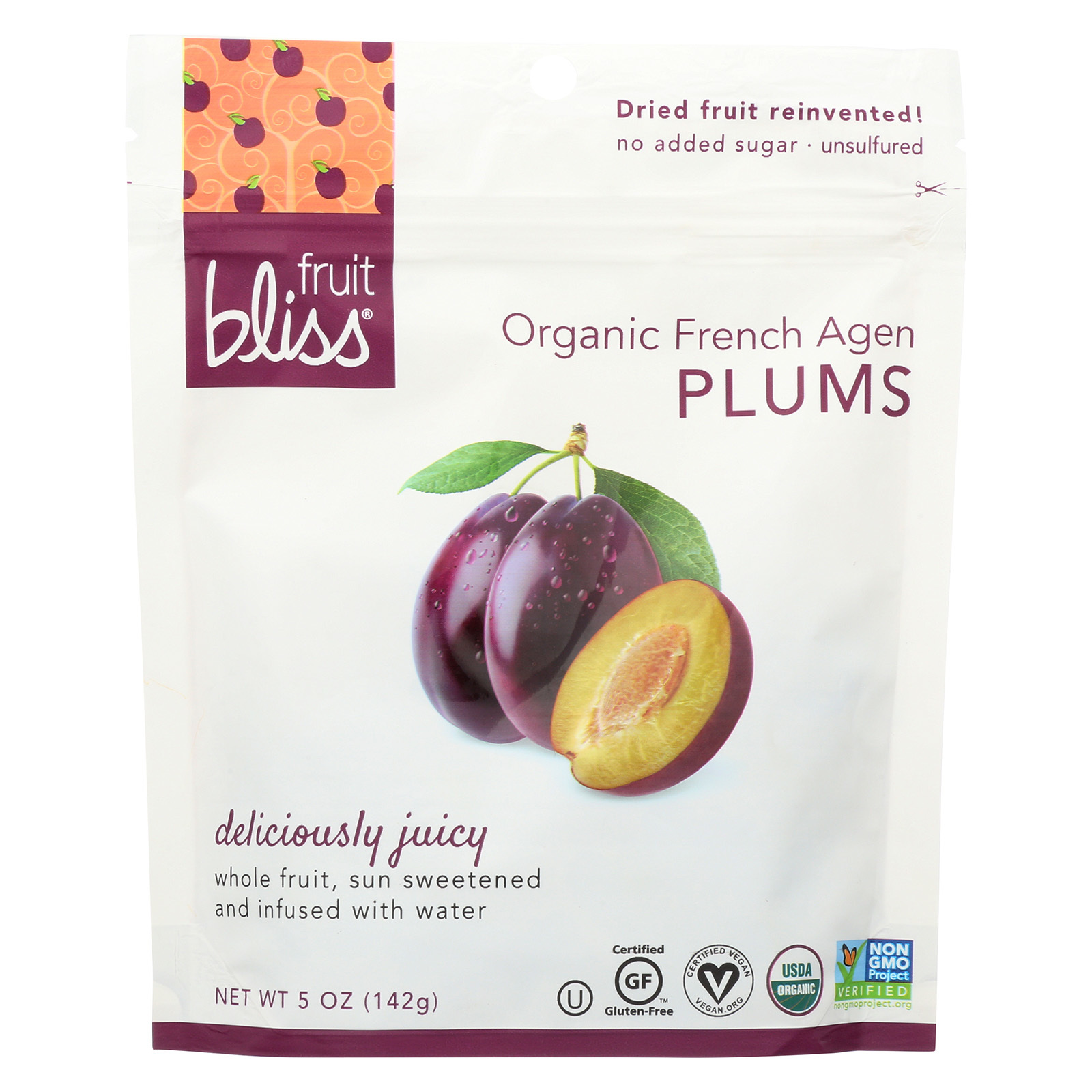 Fruit Bliss Organic French Agen Plums - Plums - Case of 6 - 5 oz.