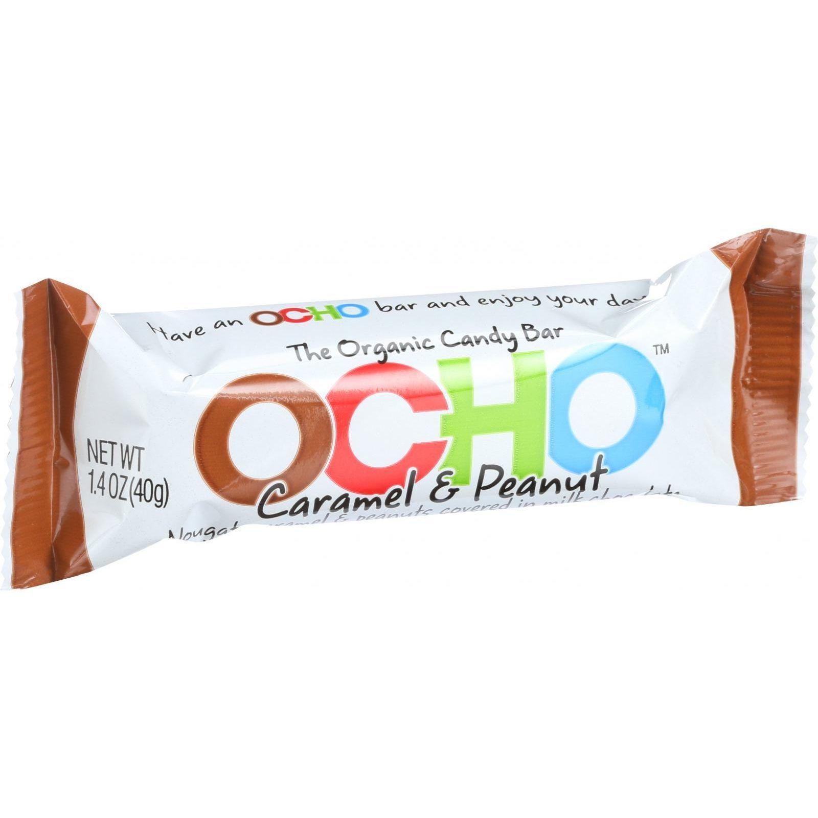 Ocho Organic Candy Bar - Caramel and Peanut - 1.4 oz - Case of 18