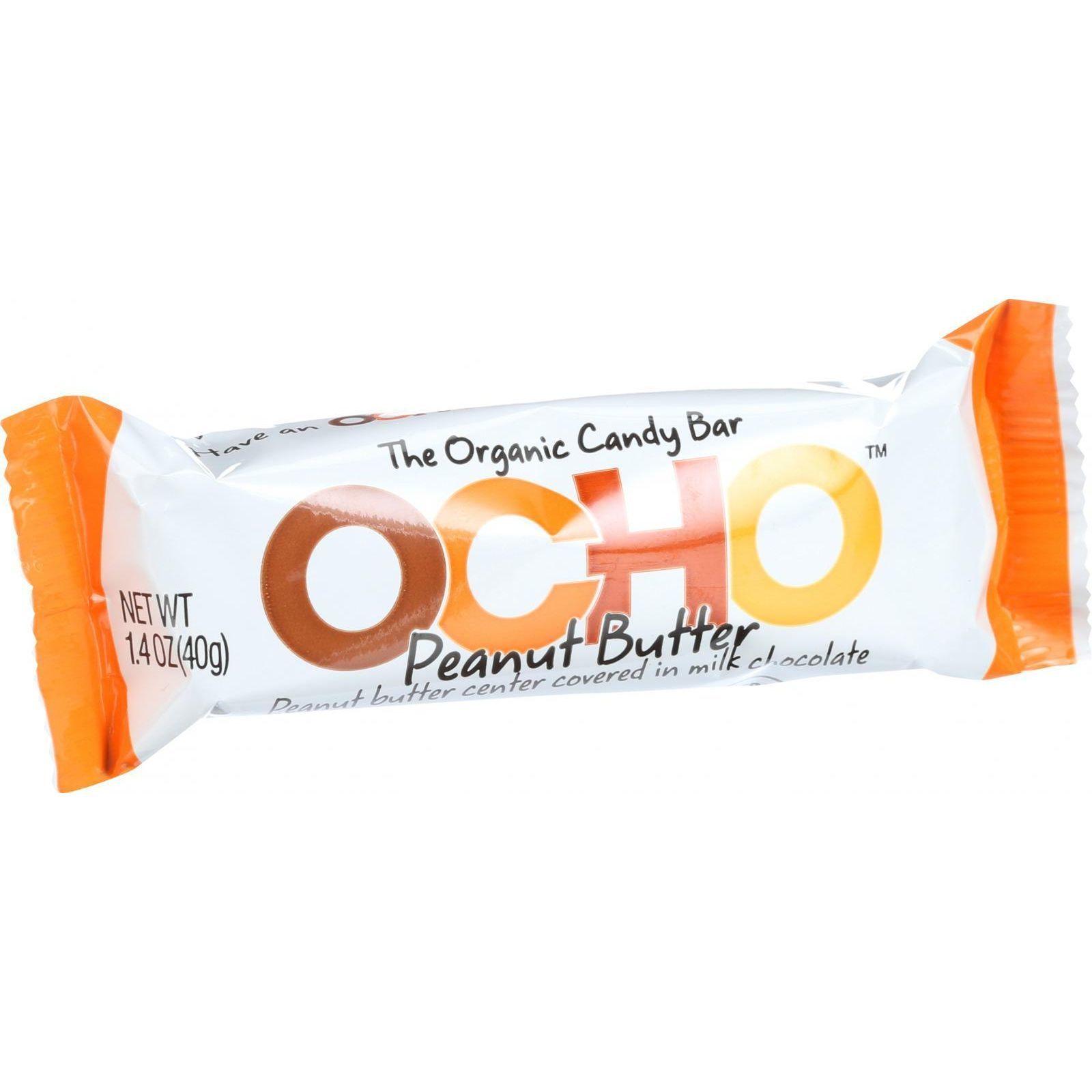 Ocho Candy Organic Candy Bar - Peanut Butter - 1.4 oz - Case of 18