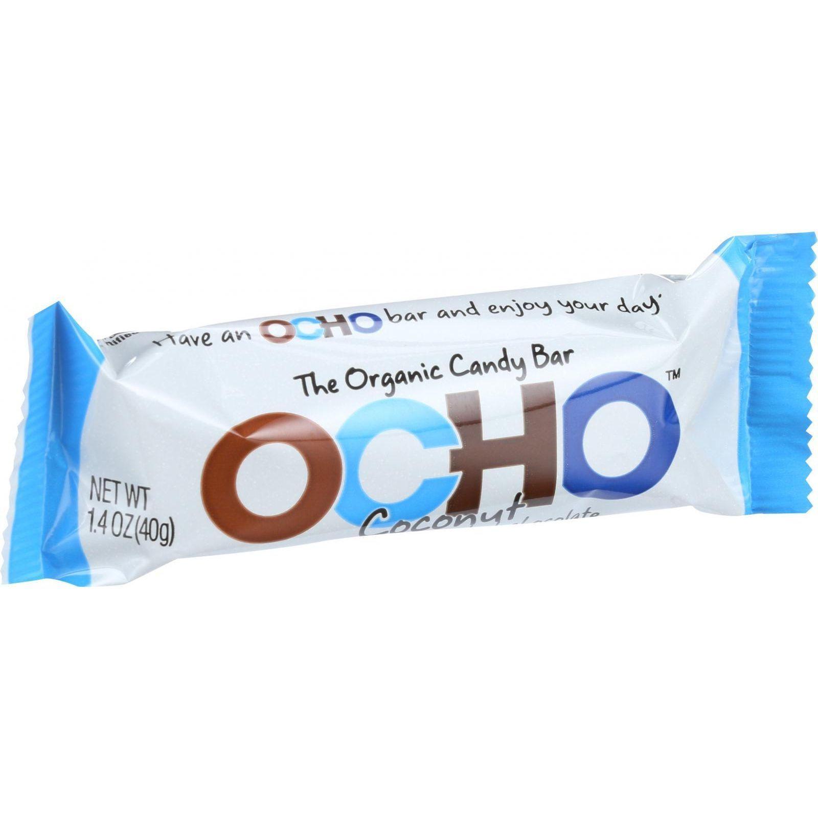 Ocho Candy Organic Candy Bar - Coconut - 1.4 oz - Case of 18
