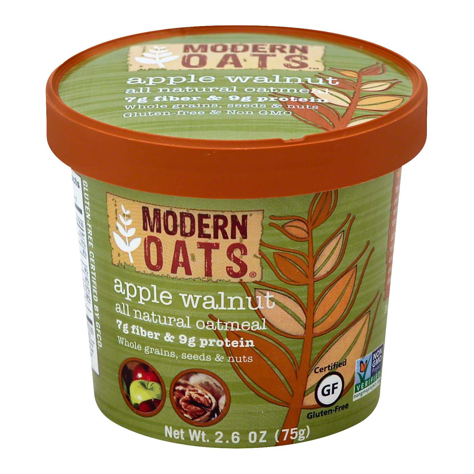 Modern Oats All Natural Oatmeal - Apple Walnut - Case of 6 - 2.6 oz.