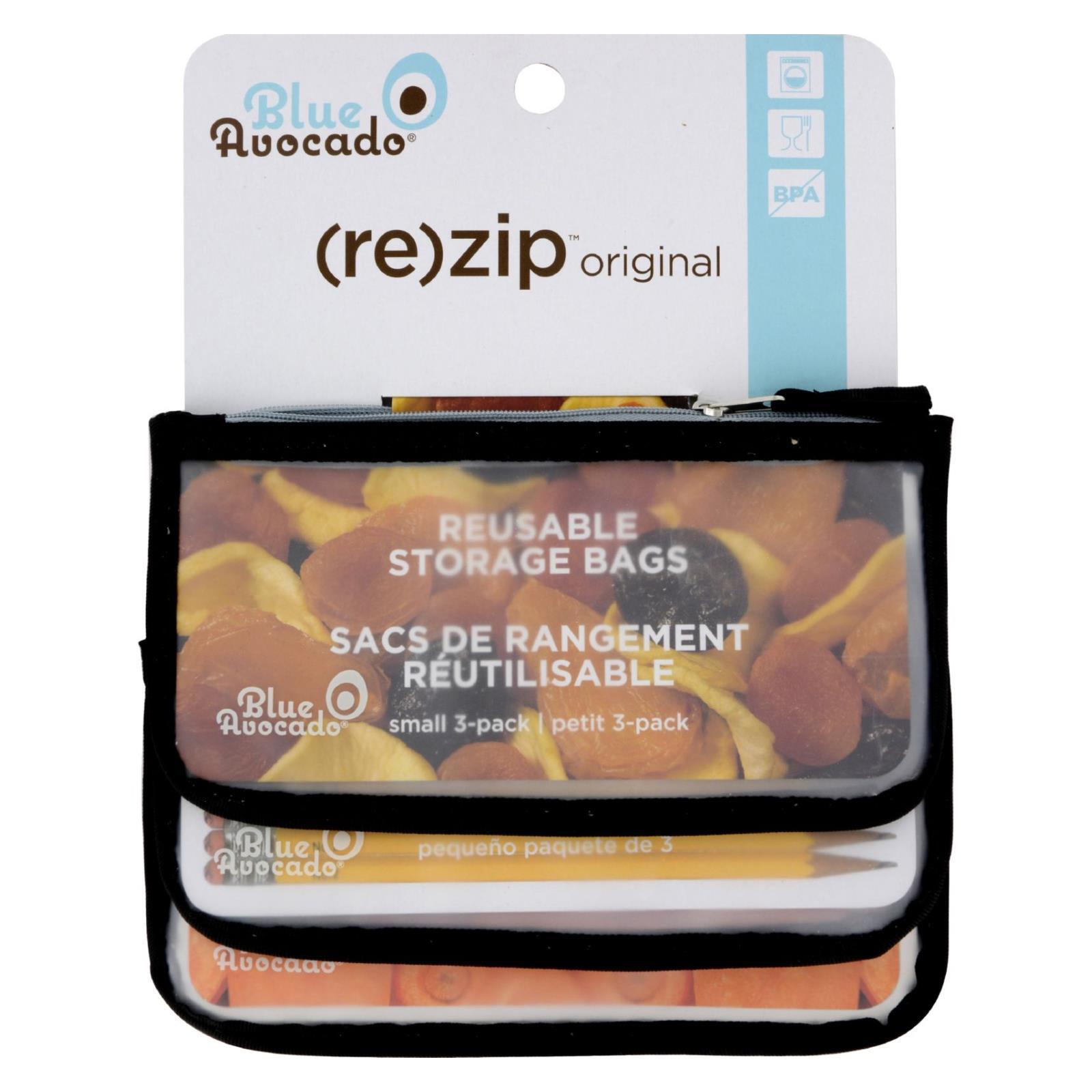 Blue Avocado Snack Zip Bag - Black - 3 Pack