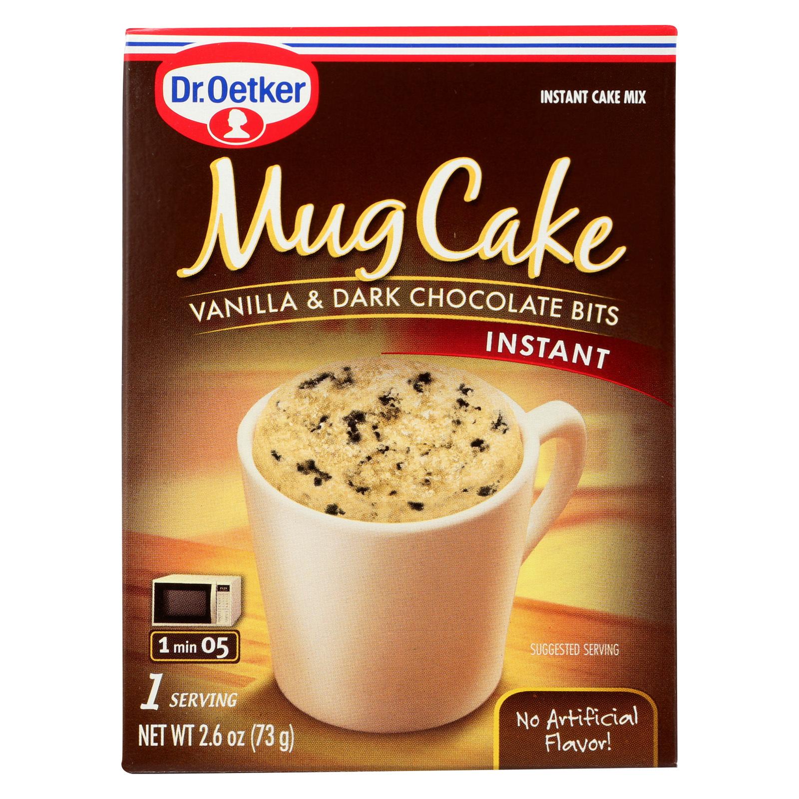 Dr. Oetker Organics Mug Cake Vanilla and Dark Chocolate Bits Instant Cake Mix - Case of 12 - 2.6 oz.