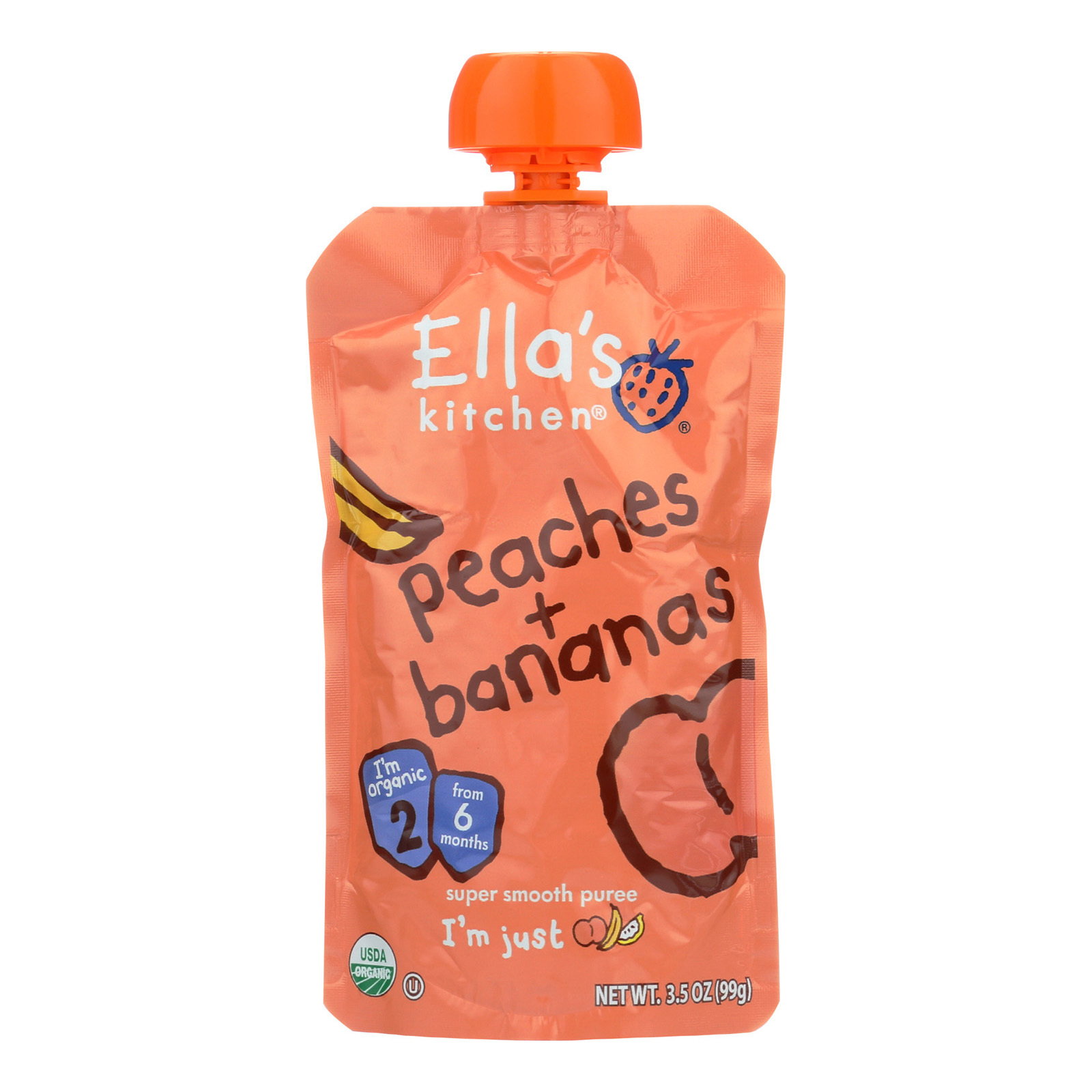 Ella's Kitchen Baby Food - Peaches Bananas - Case of 12 - 3.5 oz.