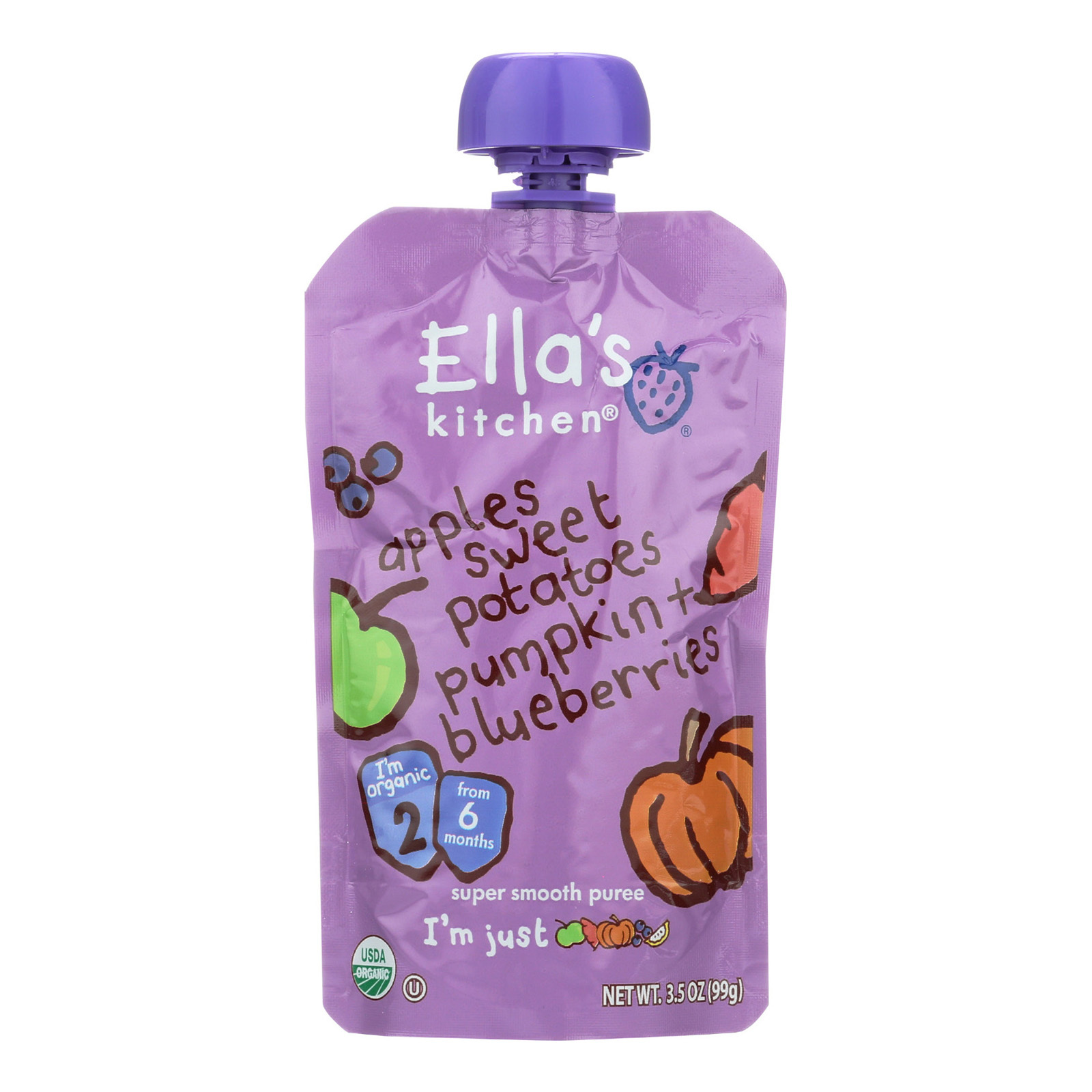 Ella's Kitchen Baby Food - Apples, Sweet Potatoes, Pumpkin and Blueberries - Case of 12 - 3.5 oz.