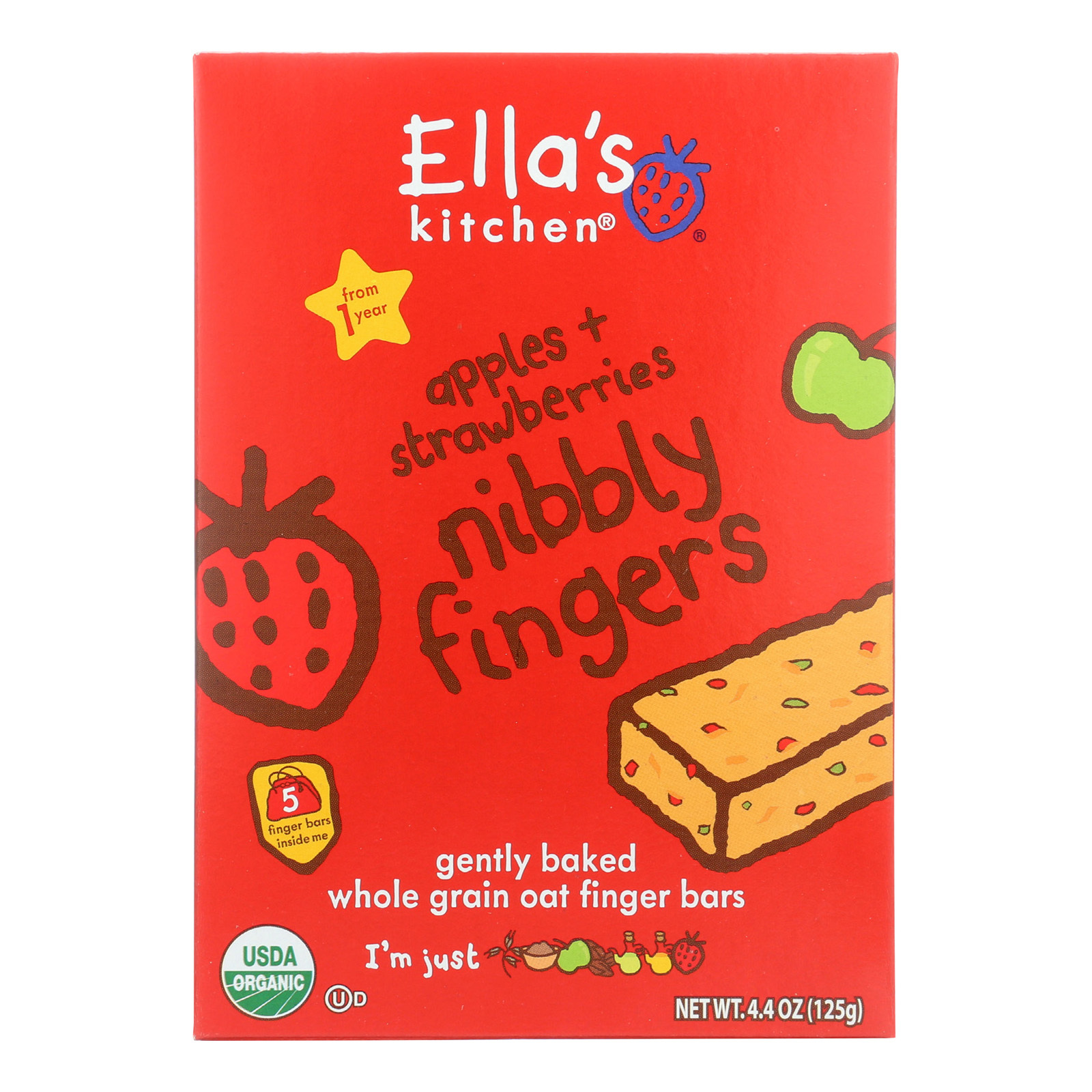 Ella's Kitchen Nibbly Fingers - Apples Strawberries - Case of 12 - 4.4 oz.