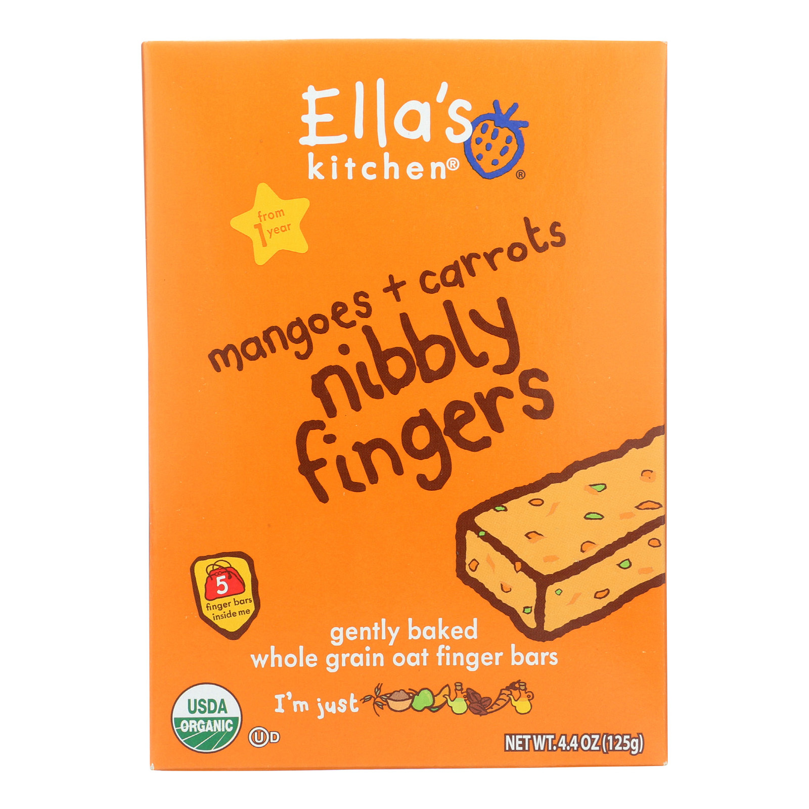 Ella's Kitchen Nibbly Fingers - Mangoes Carrots - Case of 12 - 4.4 oz.