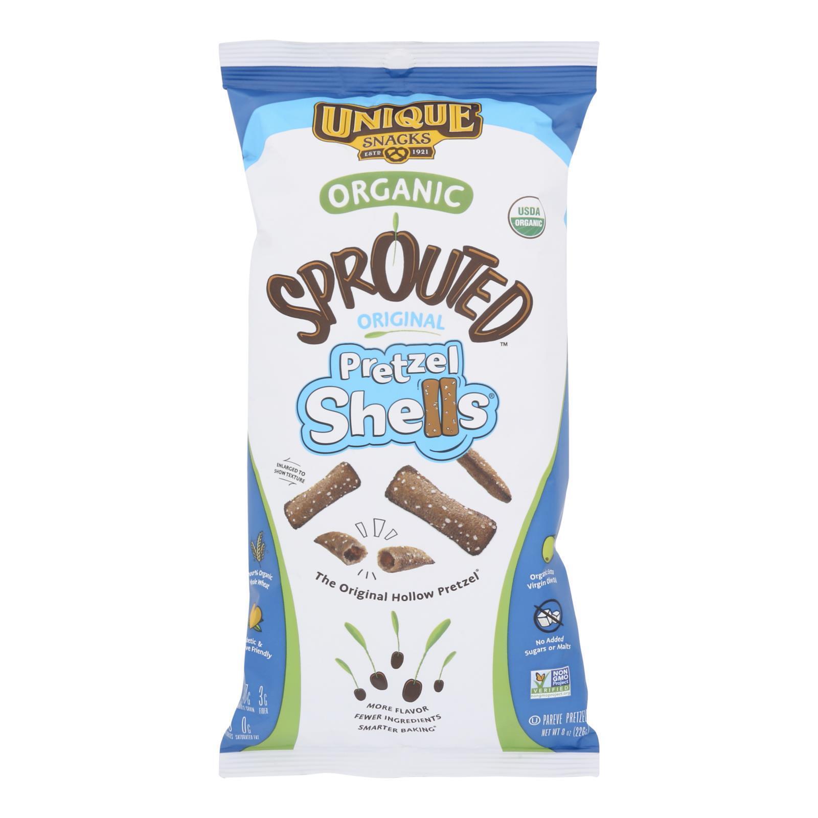 Unique Pretzels Sprouted Shells - Original Sea Salt - Case of 12 - 8 oz.