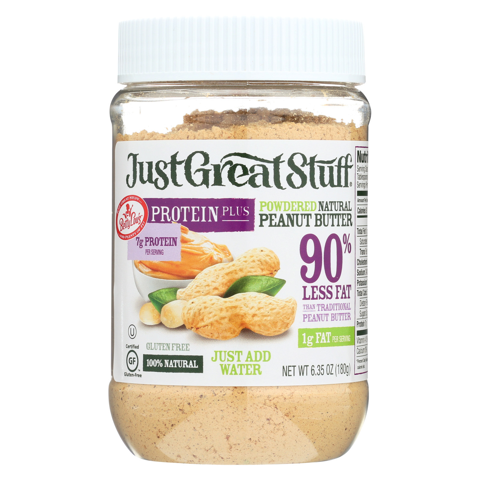 Just Great Stuff Powdered Peanut Butter - Protein Plus - Case of 12 - 6.35 oz.