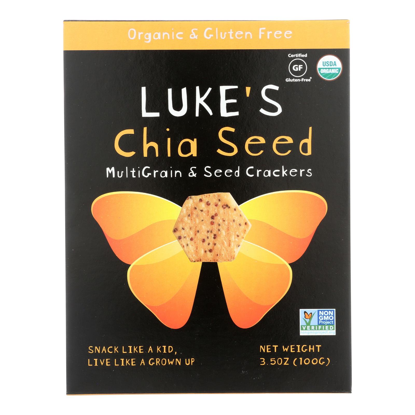 Luke's Organic Chia Seed Crackers - Multi Grain and Seeds - Case of 6 - 3.5 oz.
