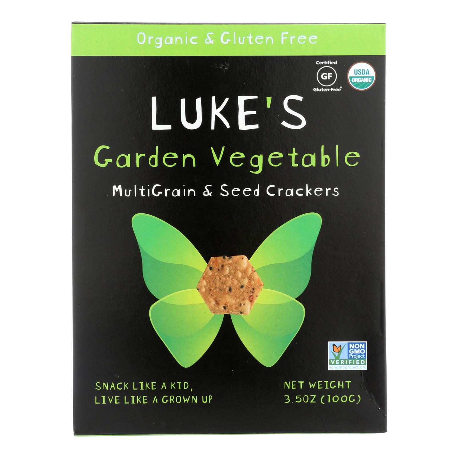 Luke's Organic Garden Vegetable Crackers - Multi Grain and Seeds - Case of 6 - 3.5 oz.